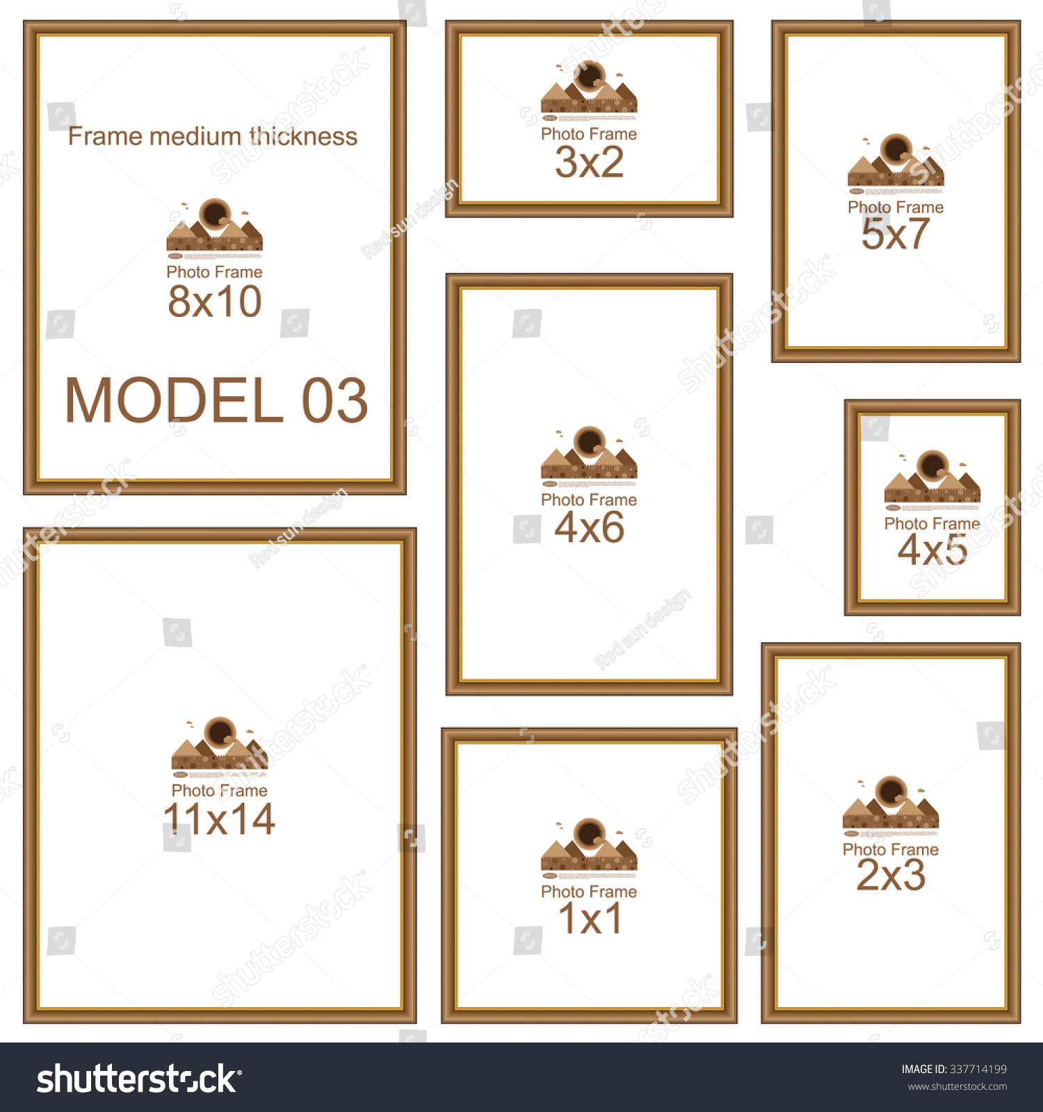Popular Picture Frame Sizes. Wood border. Frame for picture or text ...