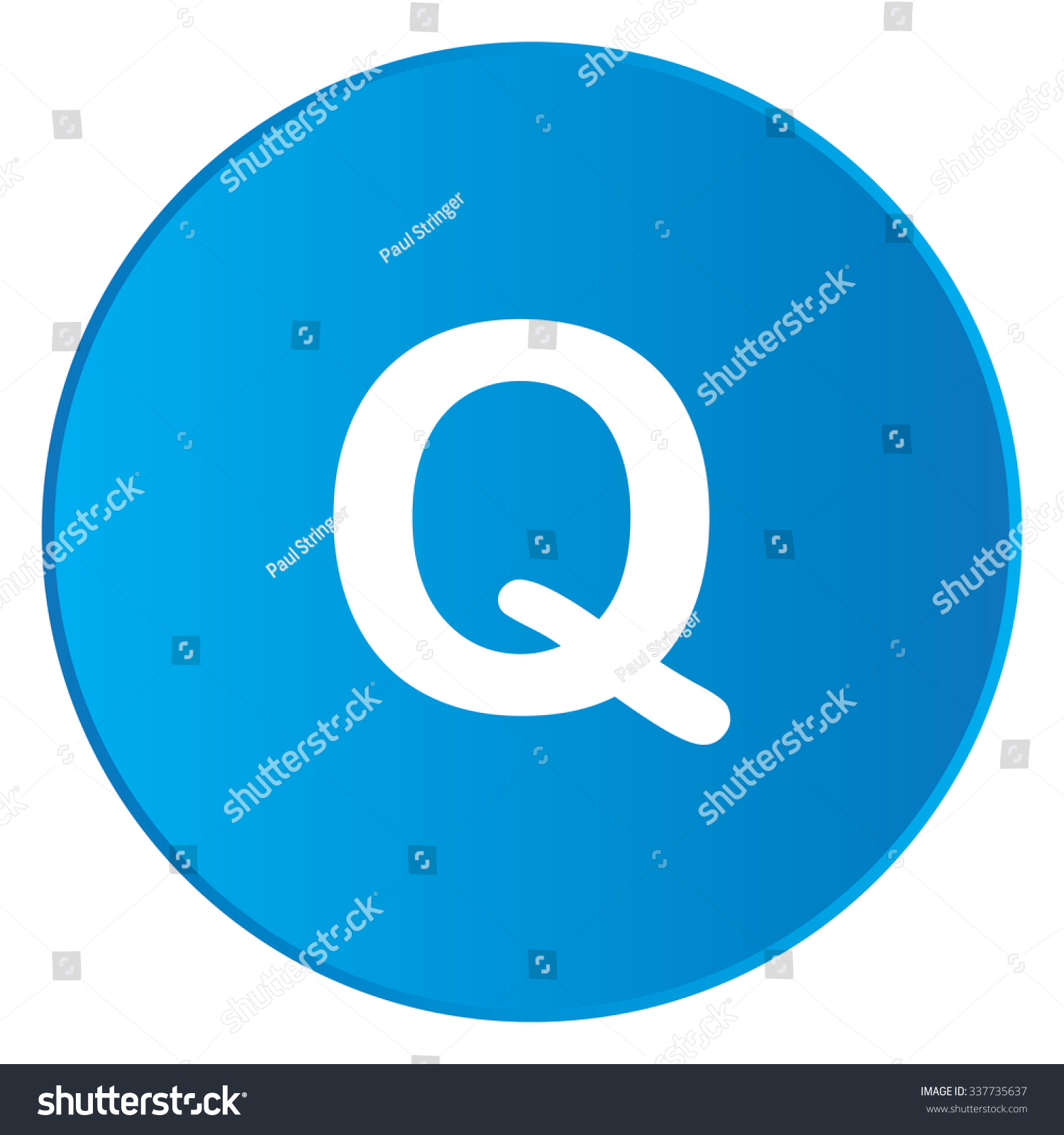 A White Icon Isolated on a Blue Button - Q