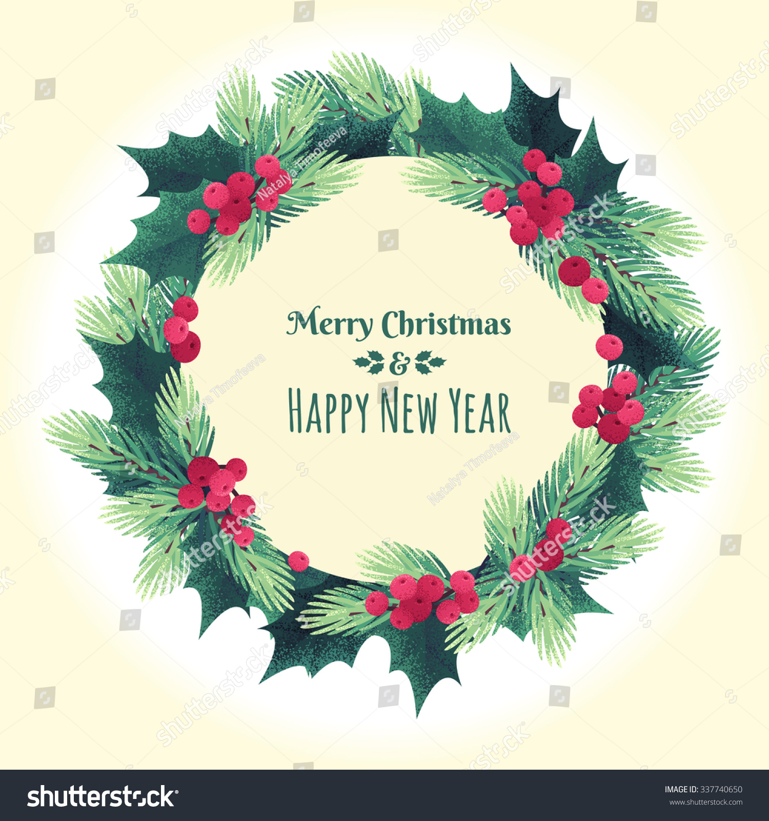 Christmas Round Template Fir Branches Holly Stock Vector Royalty