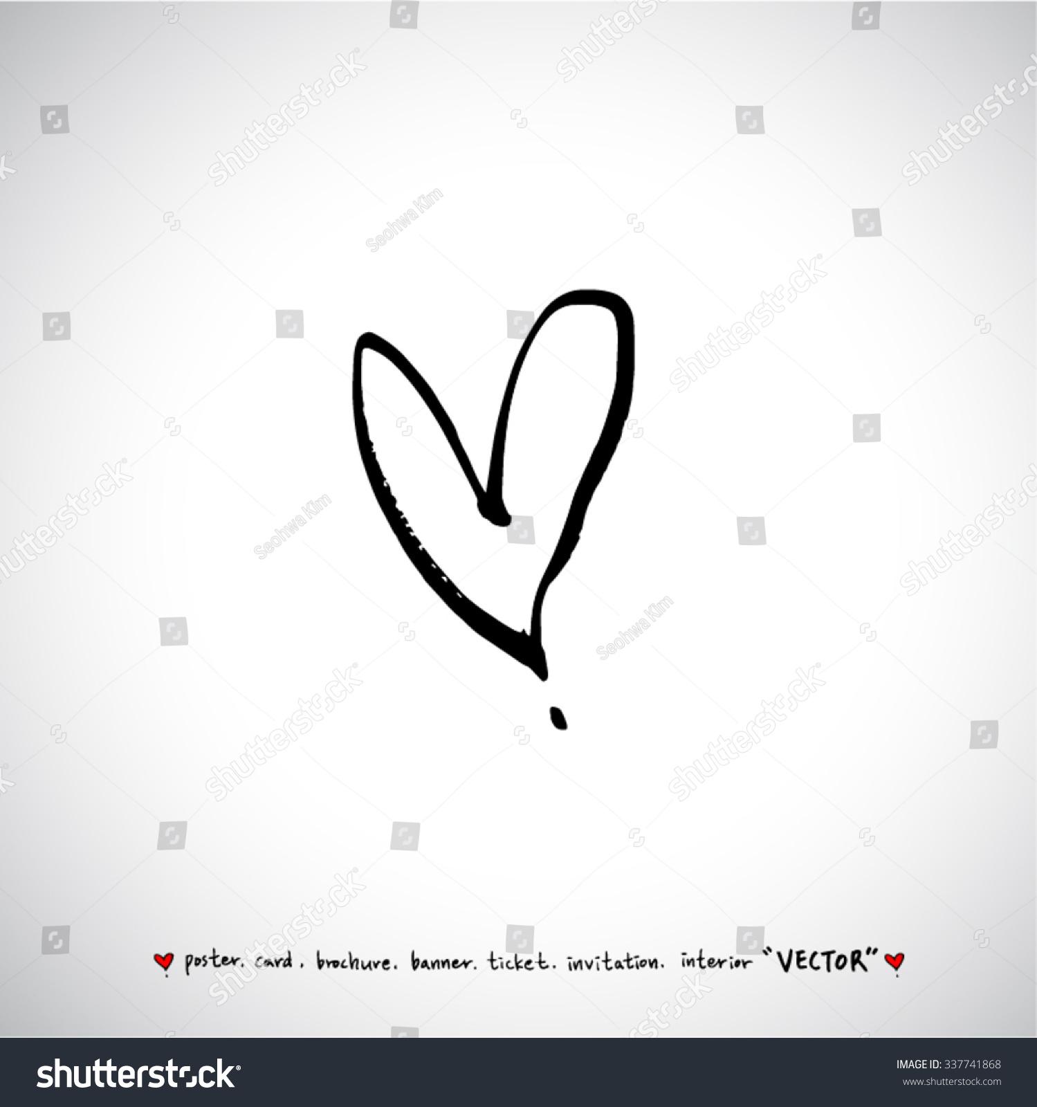 Hand Drawn Heart Vector Calligraphy Stock Vector 337741868