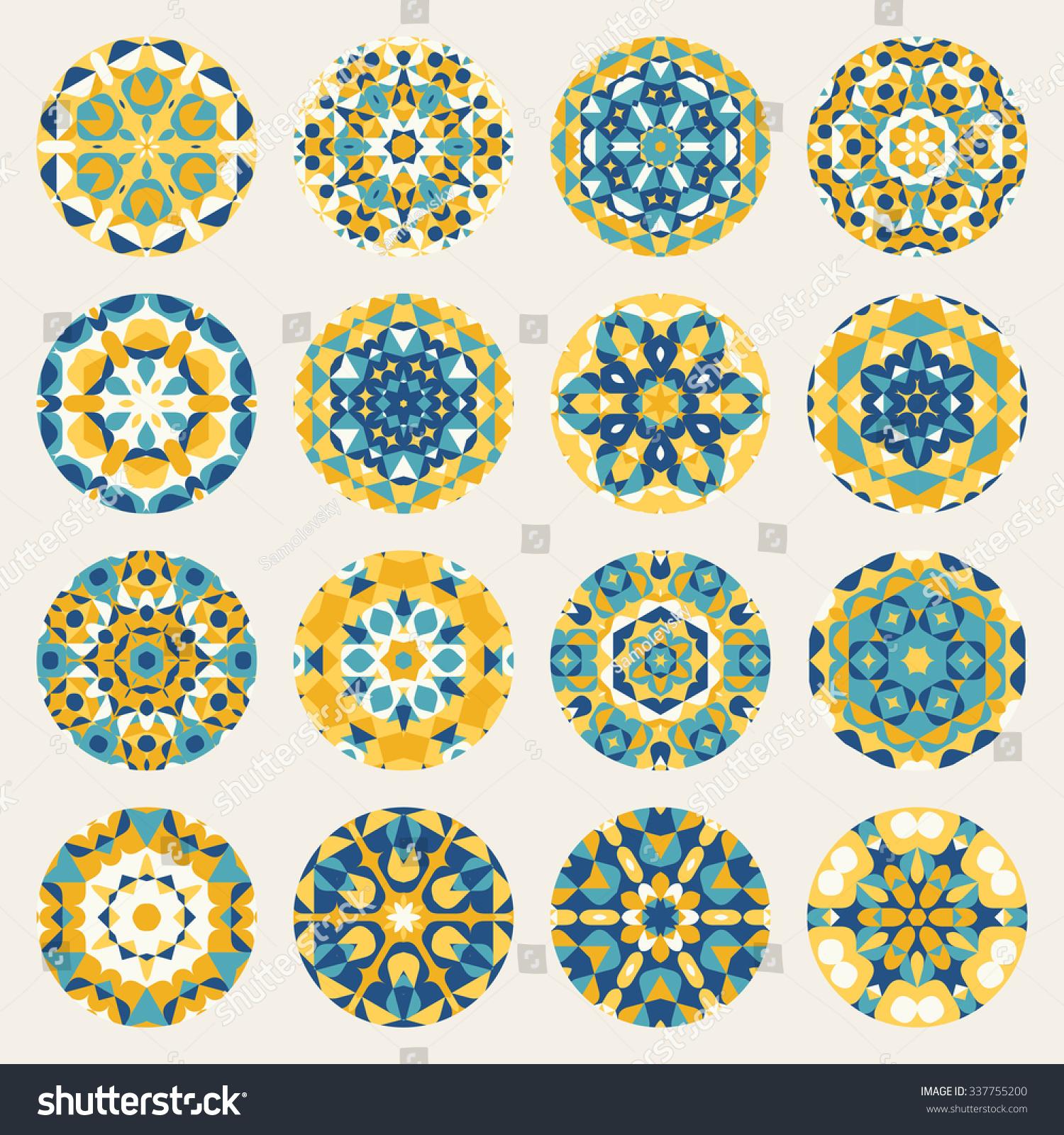 set sixteen round blue yellow mandala stock vektorgrafik 337755200 shutterstock. Black Bedroom Furniture Sets. Home Design Ideas
