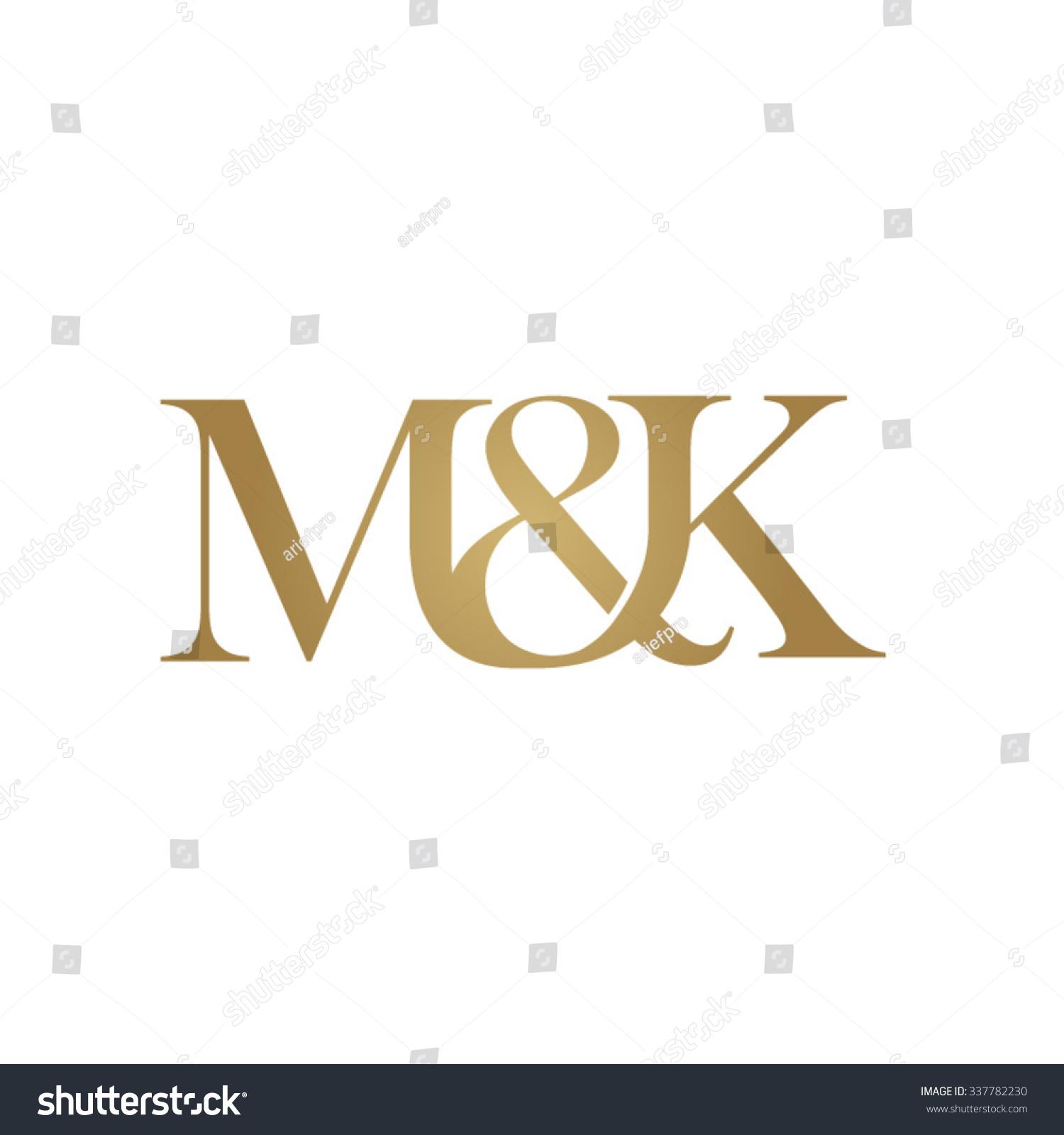 M Amp K Initial Logo Ampersand Monogram Golden Logo Stock