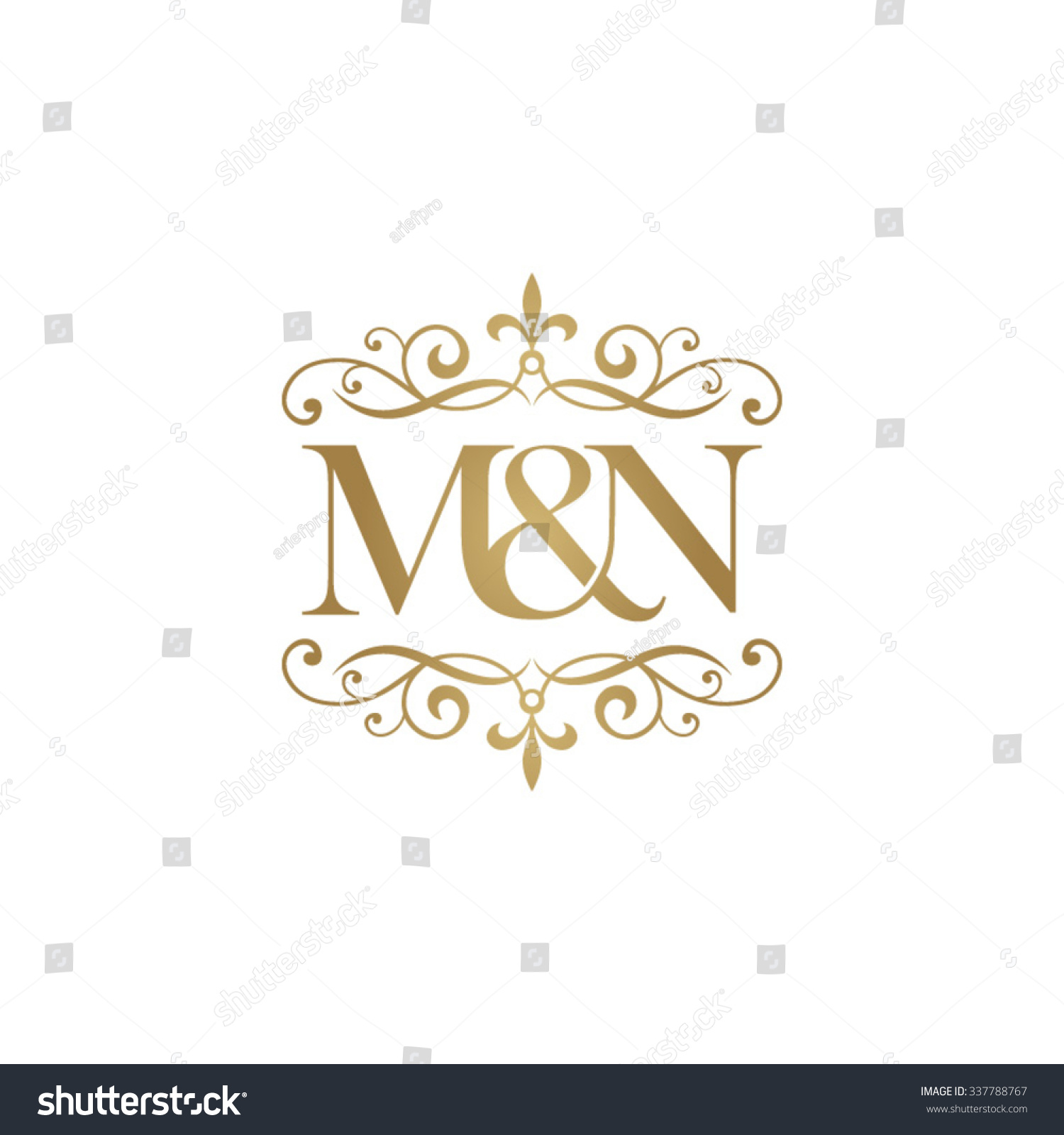 m n initial logo ornament ampersand monogram golden logo stock vector illustration 337788767. Black Bedroom Furniture Sets. Home Design Ideas