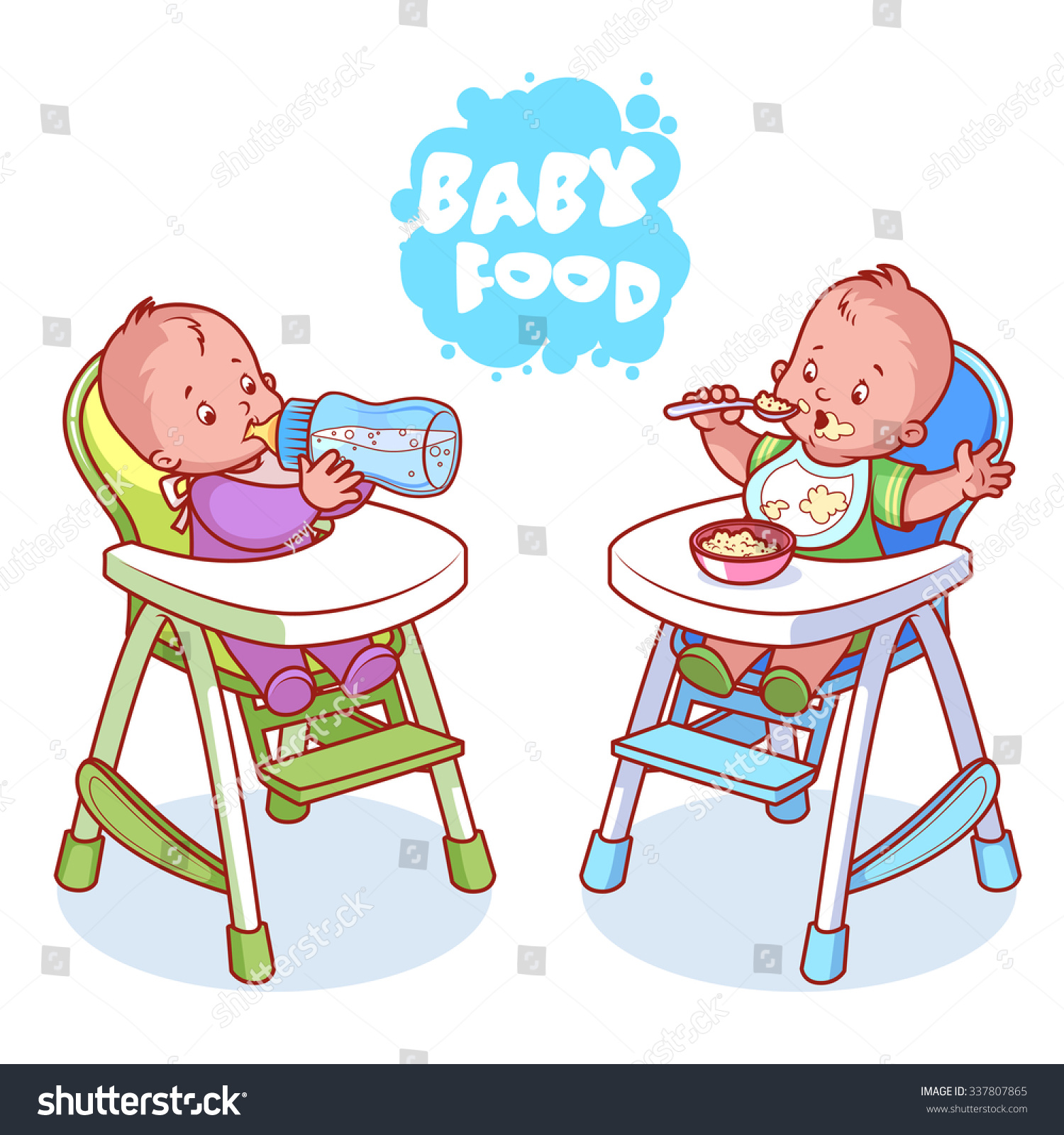 Two Kids Baby Highchair Vector Clipart Stock Vector