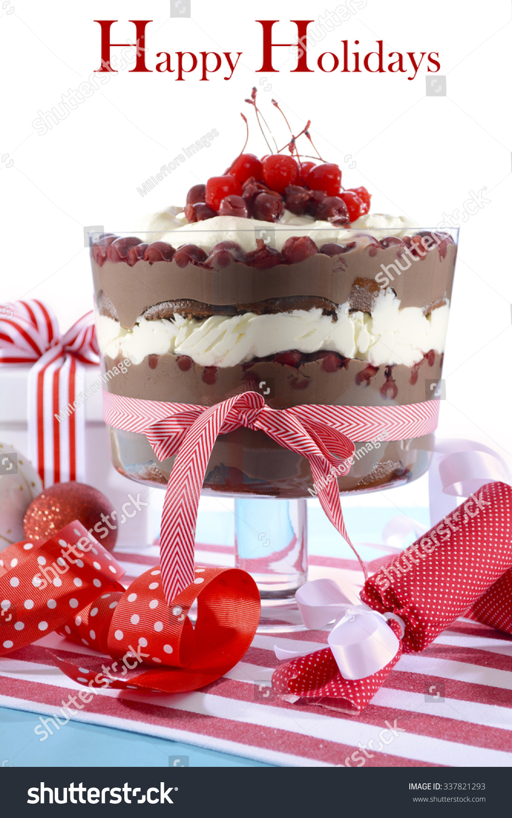 Black Forest Trifle Dessert with layers of chocolate cake, chocolate ...