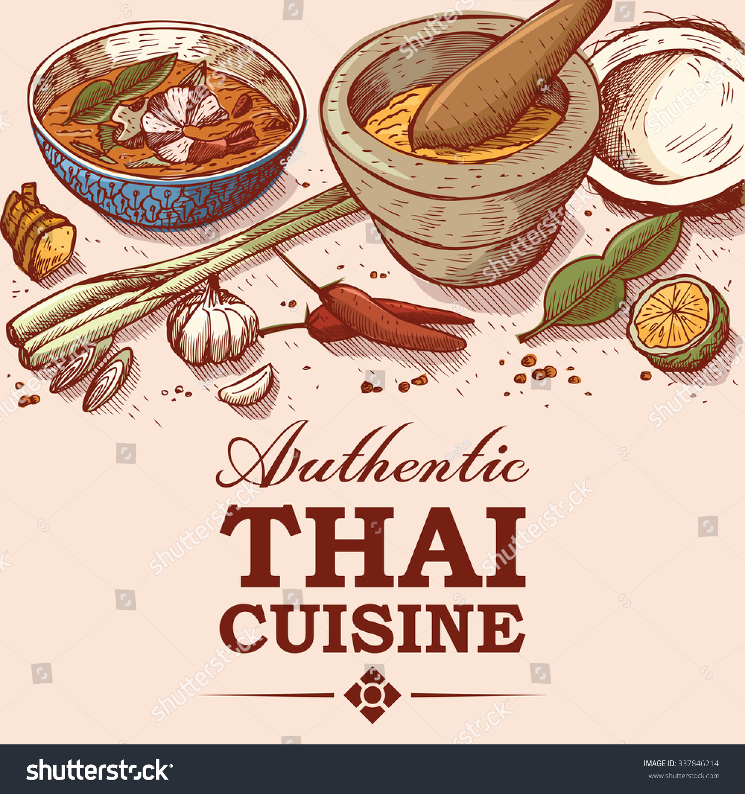 Hand Drawn Illustration Thai Food Ingredients Stock Vector 337846214 - Shutterstock