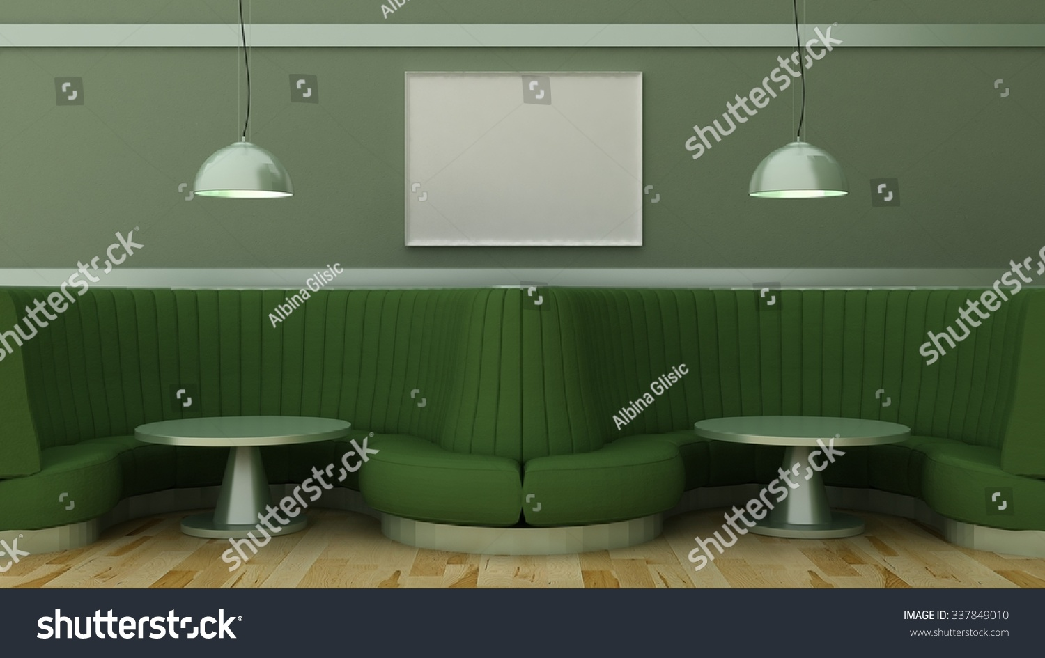 empty picture frames in classic cafe interior background on the