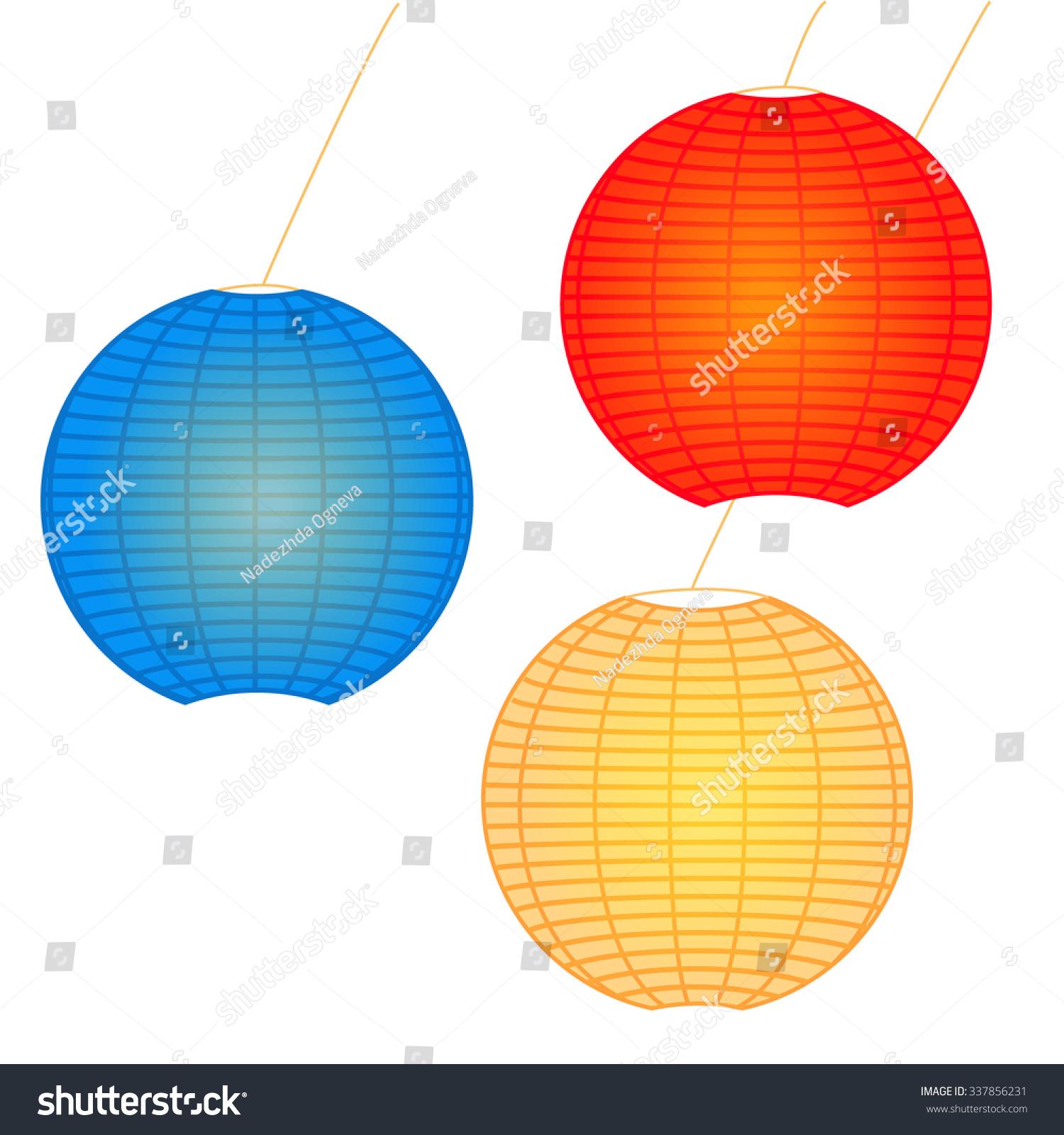 Chinese Japanese Hanging Lighting Paper Wish Stock Vector 337856231