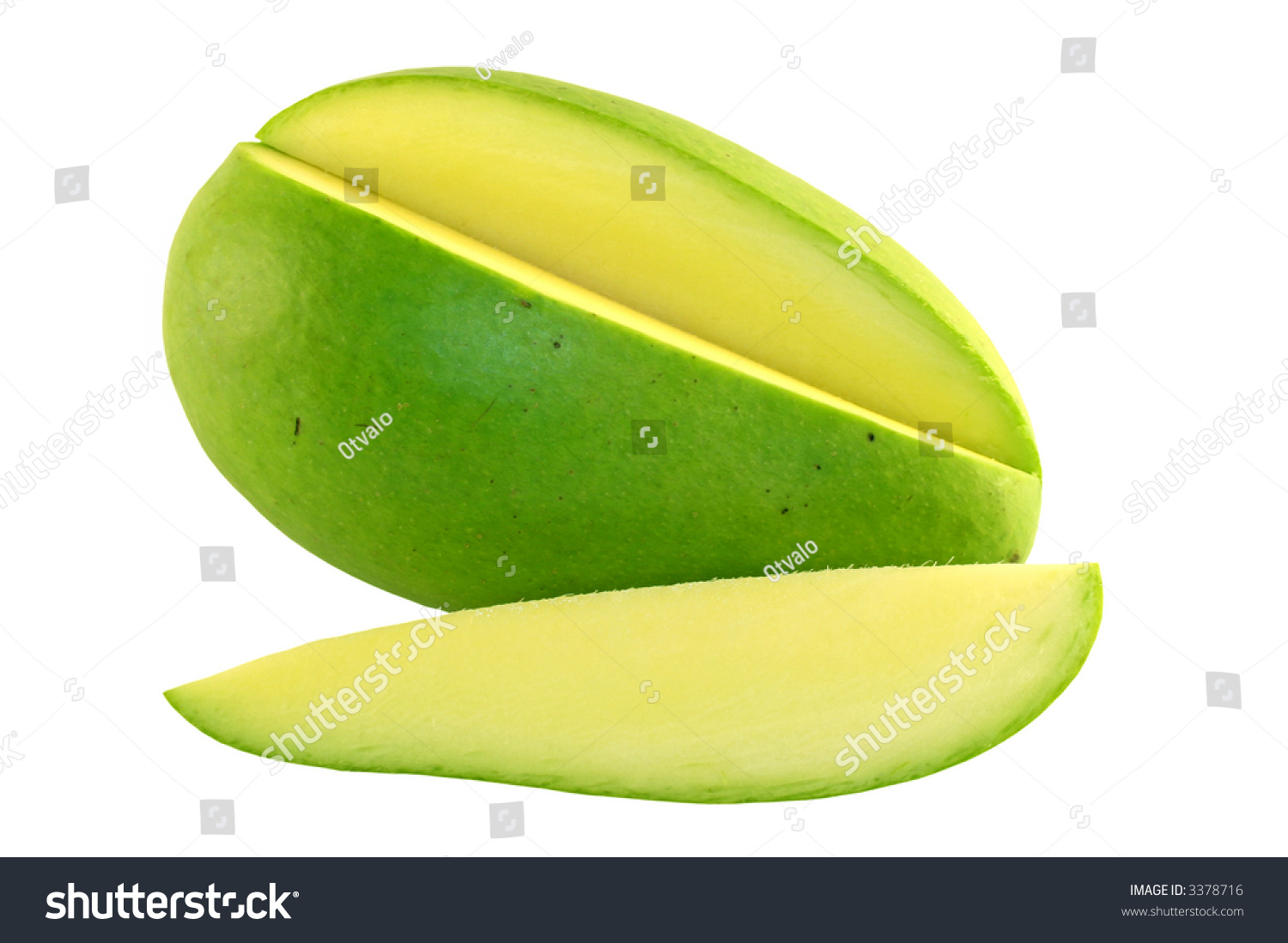 sliced green mango on a white background stock photo