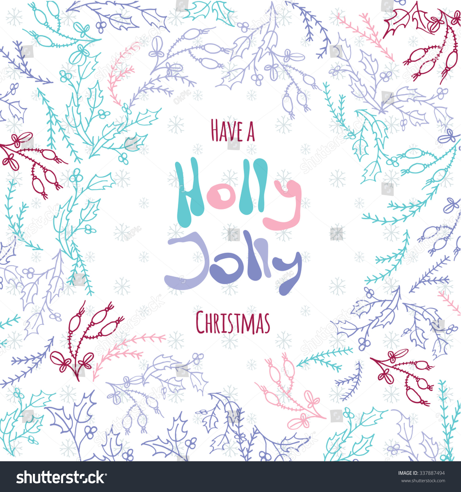 have holly jolly christmas post card stock vector  have a holly jolly christmas post card background pastel poster template stylish greeting