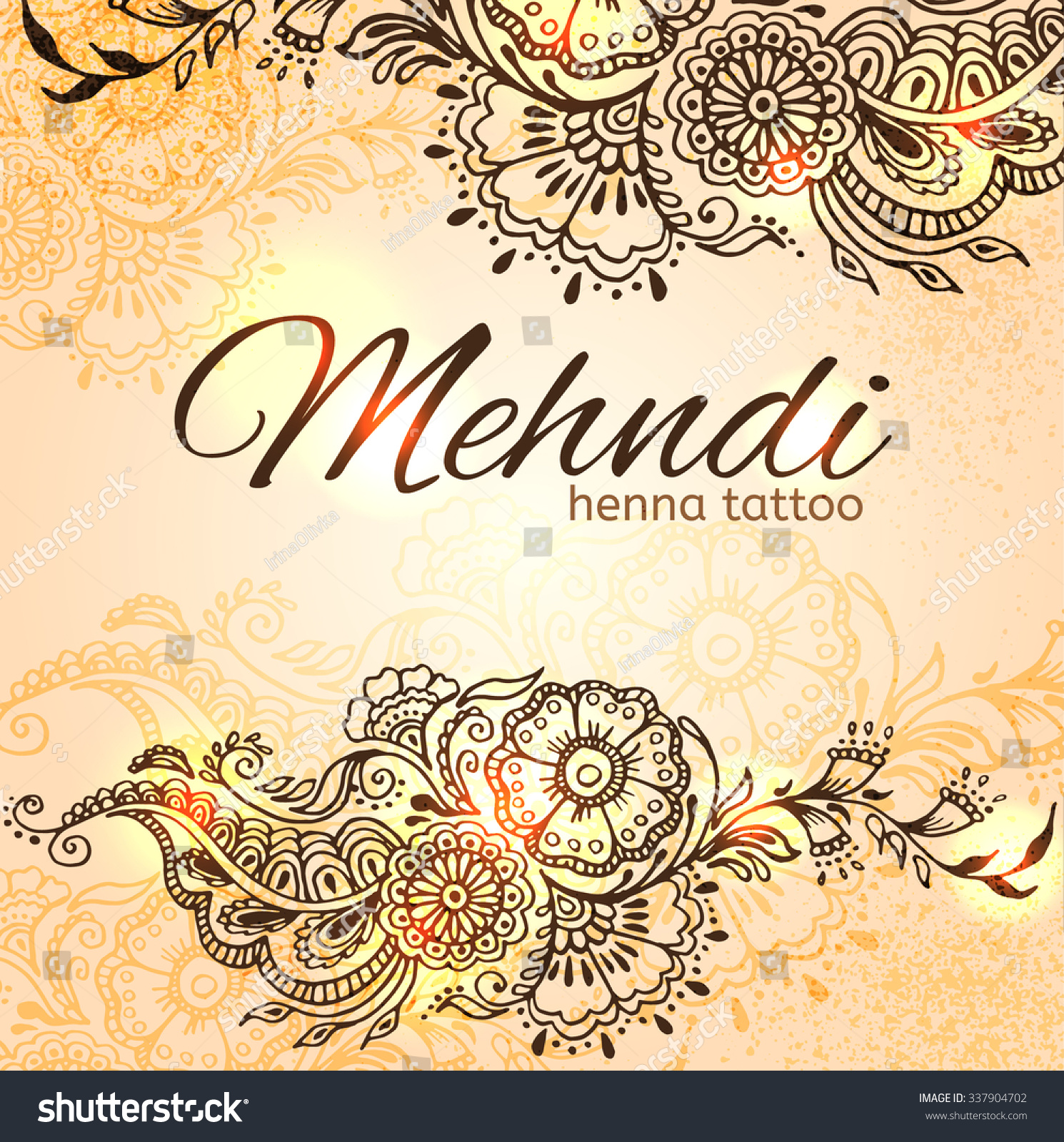 Card Floral Elements Mehndi Indian Style Stock Vector Royalty Free