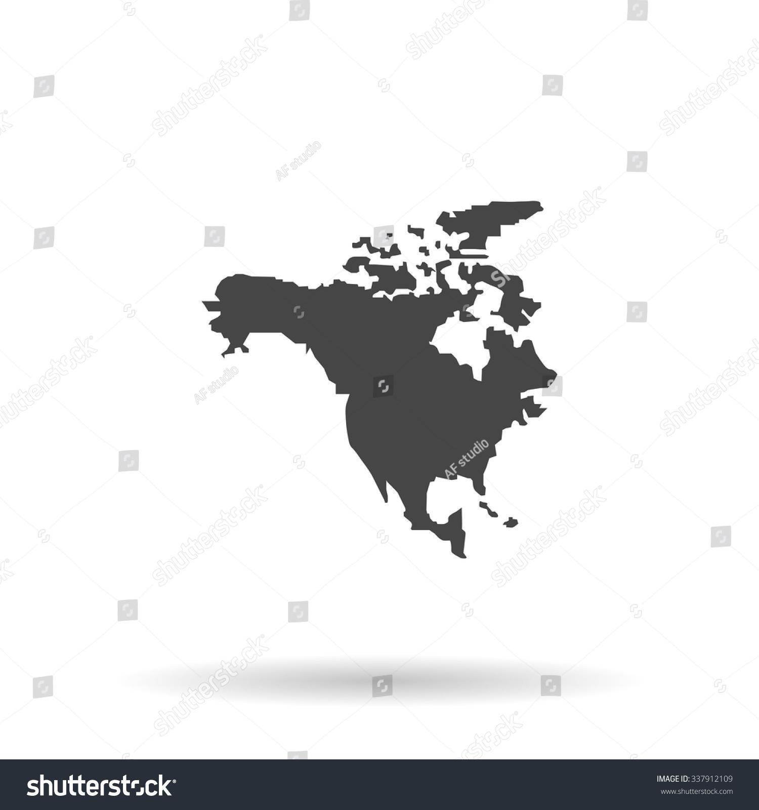 North America Map Icon Vector Stock Vector 337912109 Shutterstock
