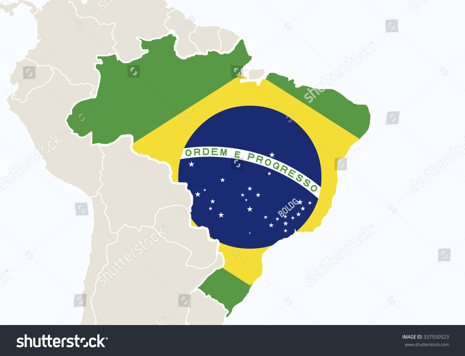 South America Highlighted Brazil Map Vector Stock Vector - South america map and flags