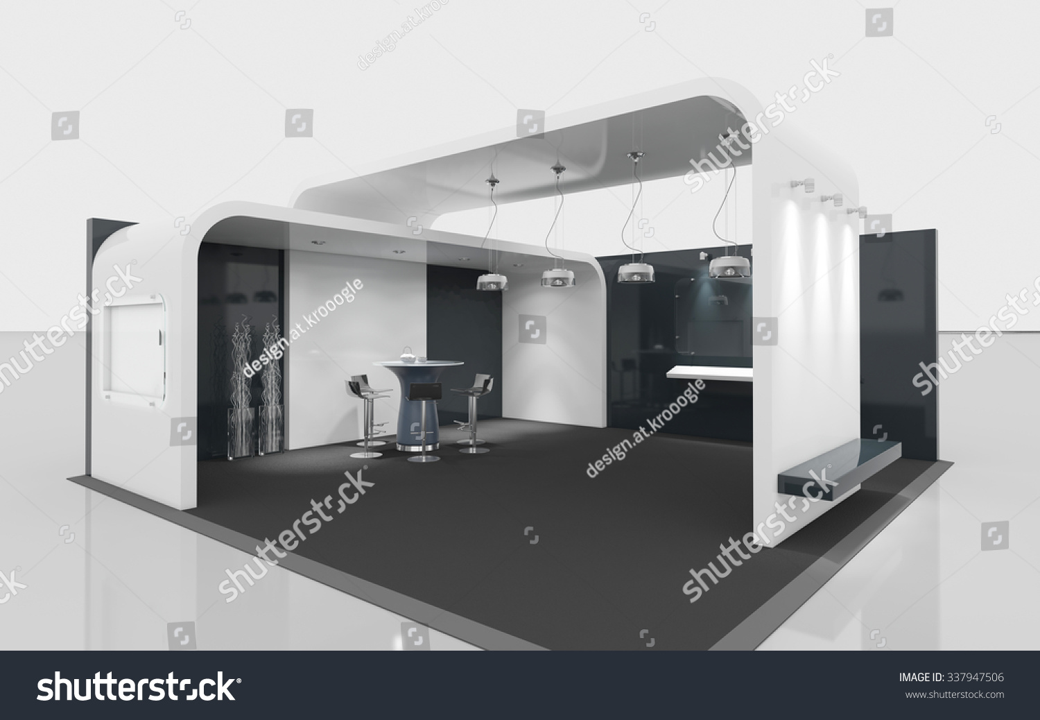 Simple Exhibition Stand Out : Black and white exhibition booth d rendering stock photo