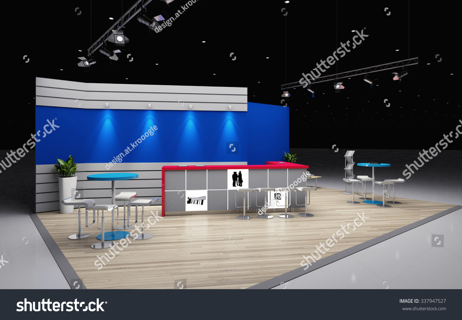 D Rendering Exhibition : Grey and blue exhibition stand d rendering stock photo