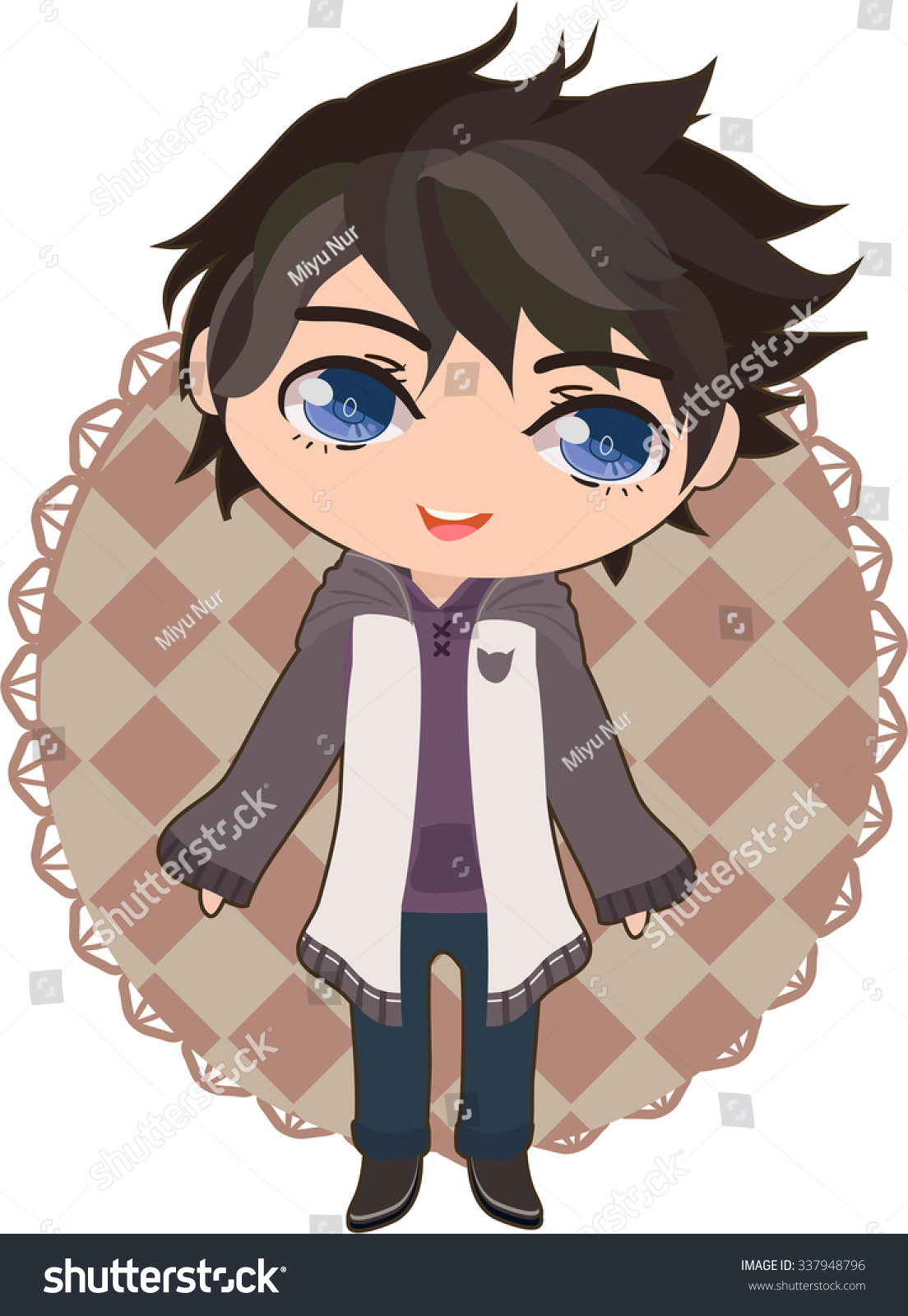 Cute Anime Boy Stock Vector Royalty Free 337948796