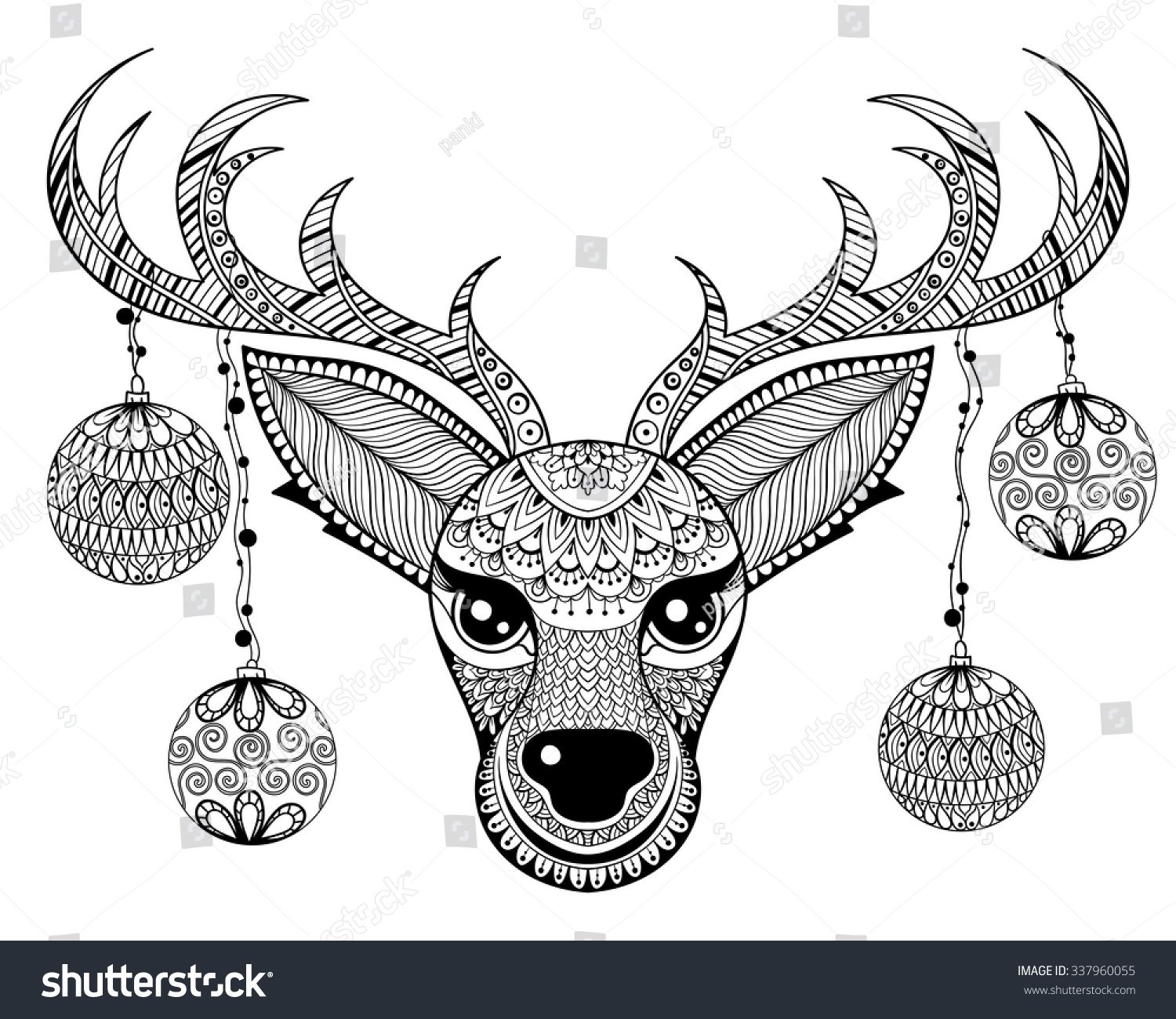 Zentangle Vector Reindeer Face Christmas Decoration Stock Vector ...