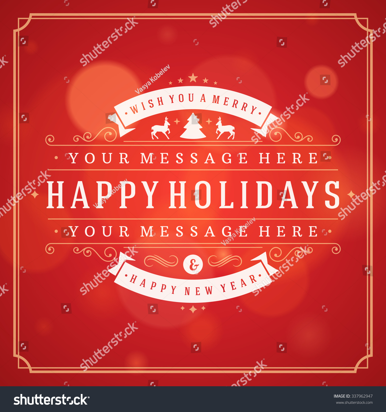 Christmas Greeting Card Lights Vector Background Stock Vector