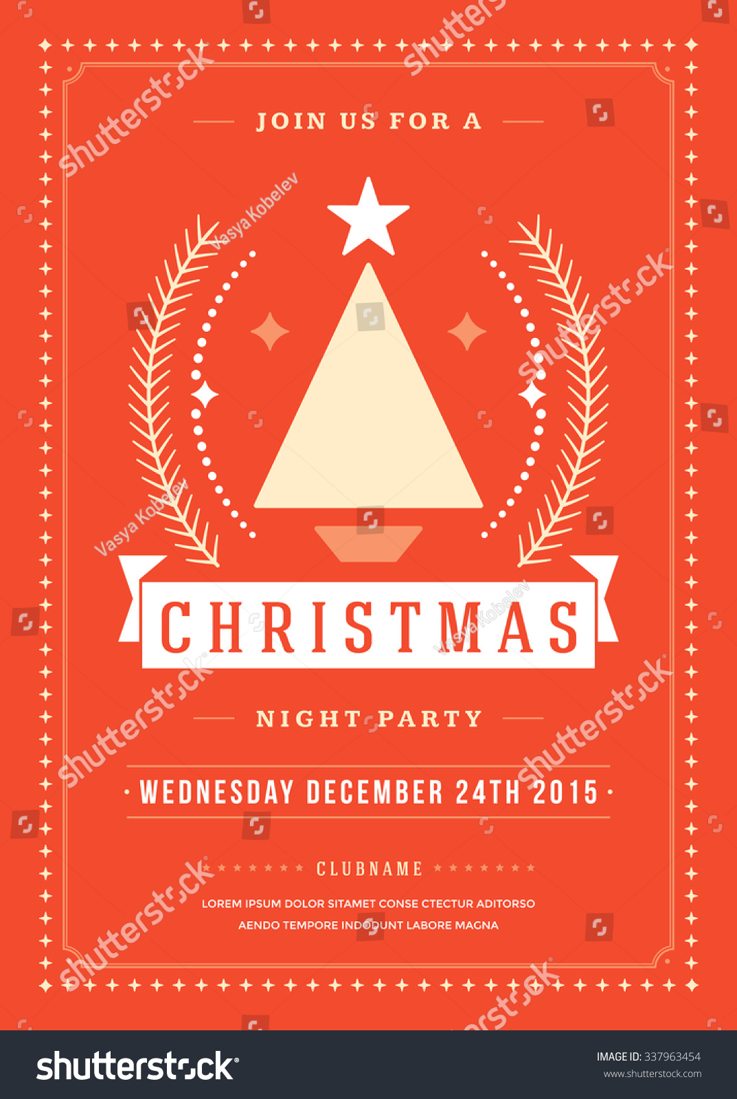Christmas Party Poster Retro Typography Ornament Stock Vector ...