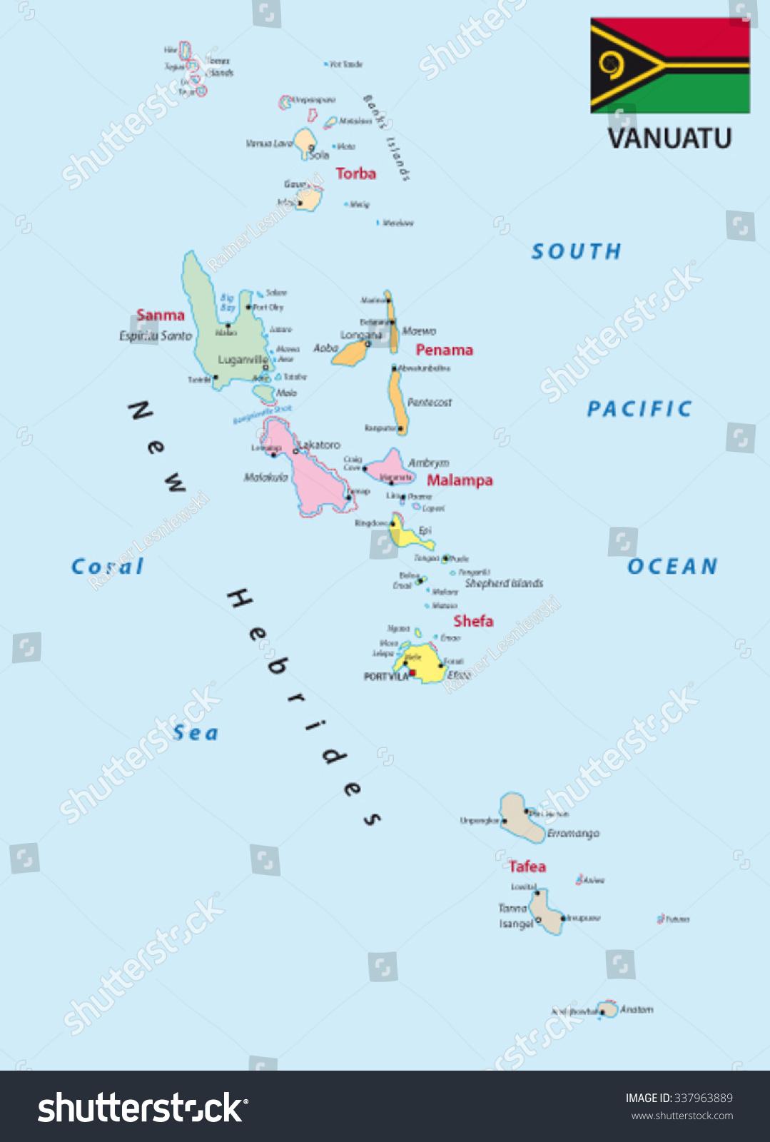 Vanuatu Administrative Map Flag Stock Vector 337963889 Shutterstock