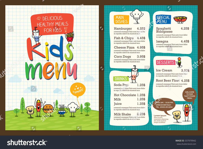 Cute Colorful Kids Meal Menu Design Vector Template - 337979942 ...