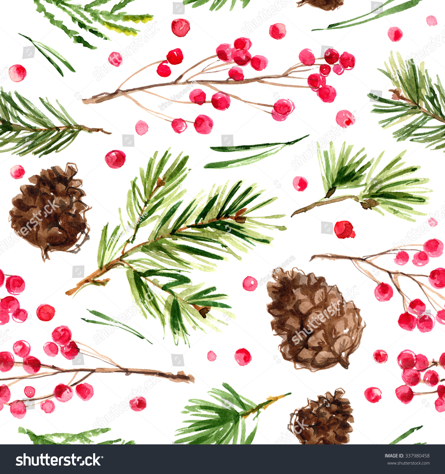 Pattern Christmas Ornaments From The Branches Painted With Watercolors On  White Background Branches Of Trees