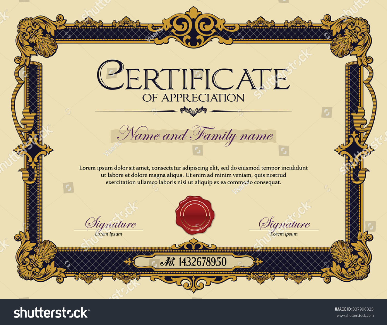 antique vintage ornament frame certificate appreciation stock