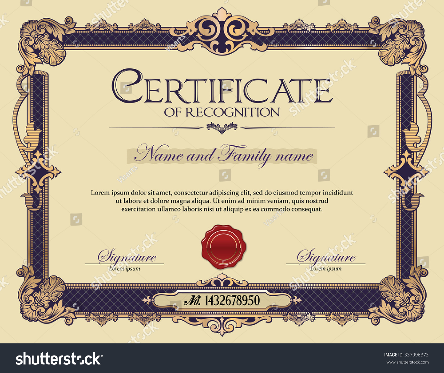 Certificate Recognition Antique Vintage Ornament Frame Stock Vector ...