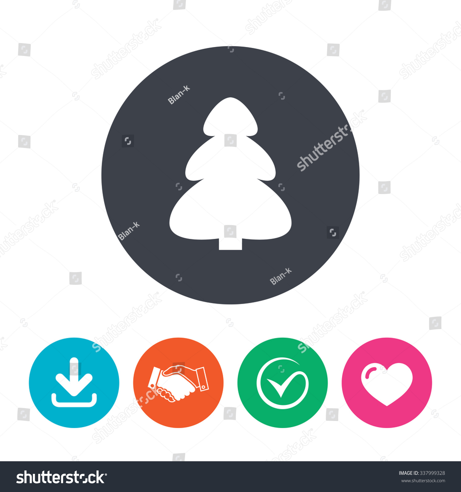 Christmas Tree Sign Icon Holidays Button Stock Vector 337999328 ...