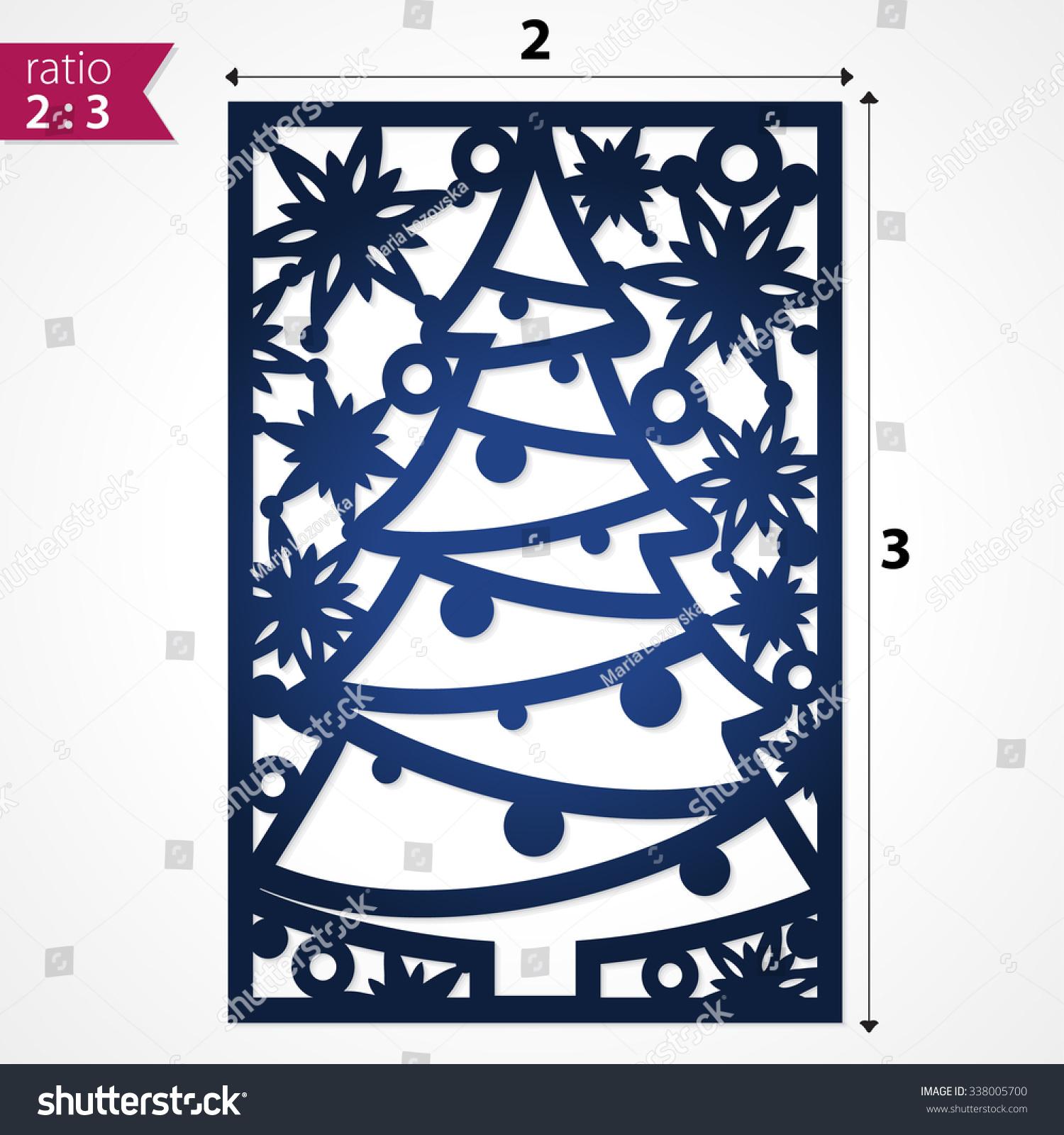 holiday card die cut xmas pattern stock vector 338005700