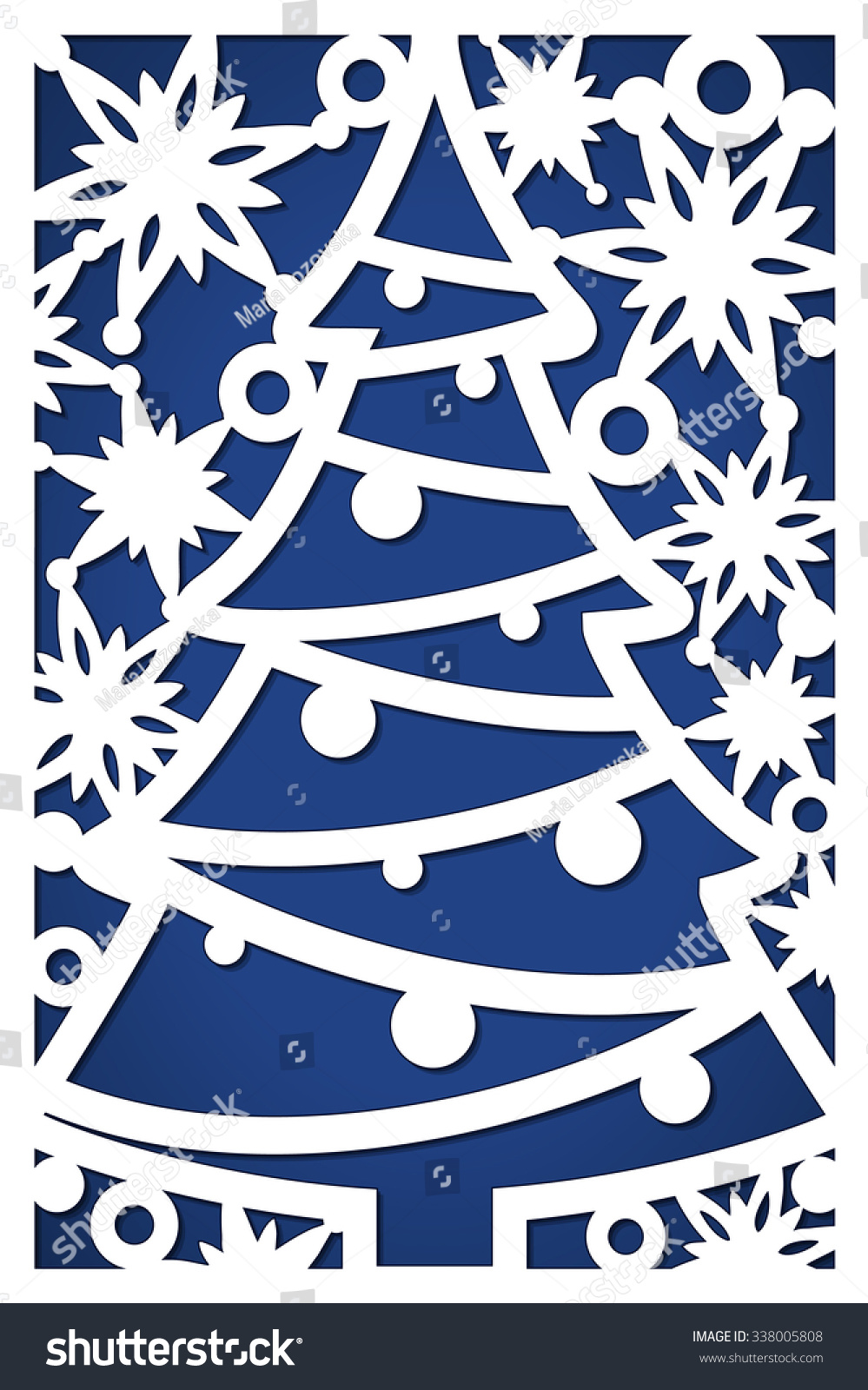 christmas card cutout holiday paper card stock vector 338005808