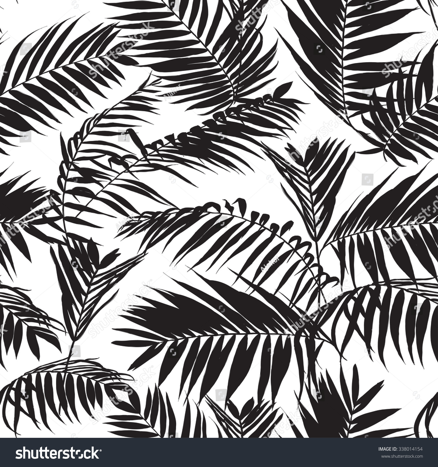 Black White Palm Leaves Pattern Seamless Stock Vector (Royalty Free ...