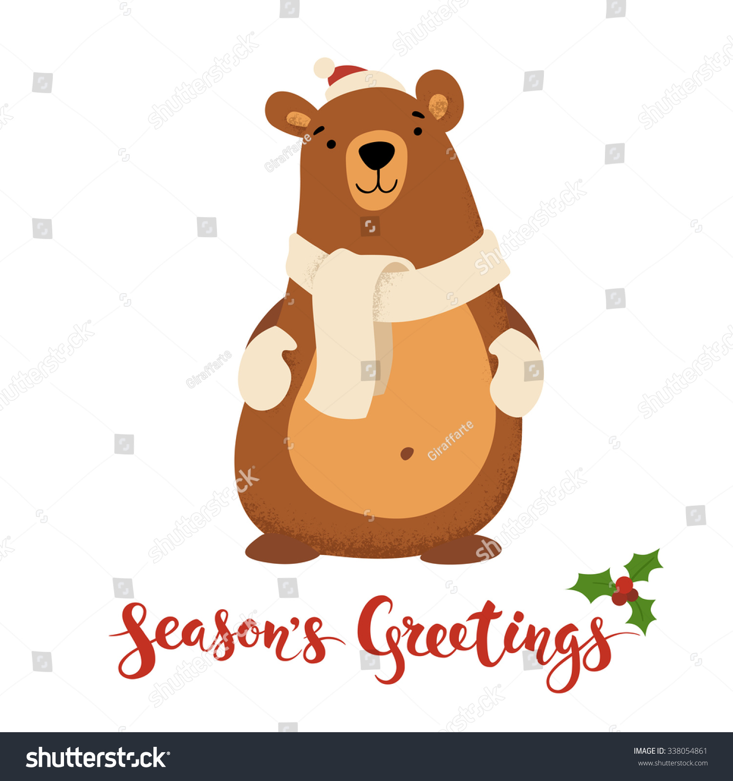 Seasons greetings vector card funny christmas stock vector seasons greetings vector card with funny christmas character vintage christmas card design with bear and kristyandbryce Choice Image