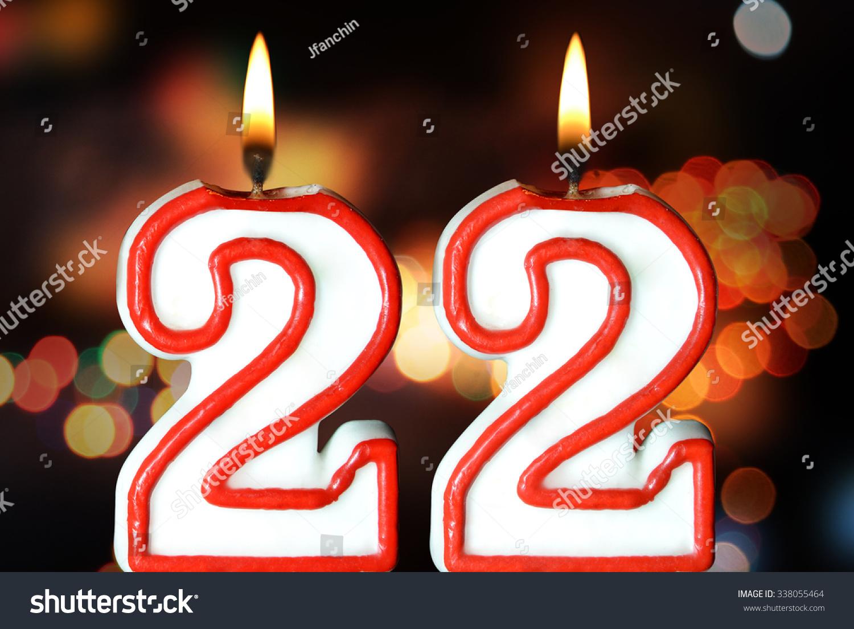 Birthday Candles Celebrating 22th Birthday Stock Photo