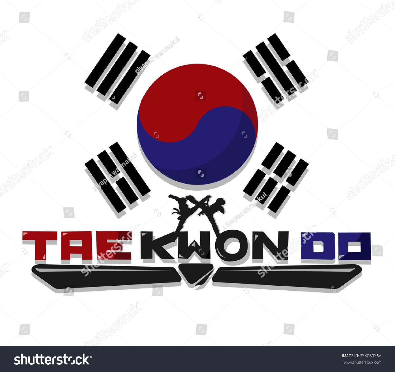 Create Taekwondo Text Graphic Flag Korea Stock Vector Royalty Free
