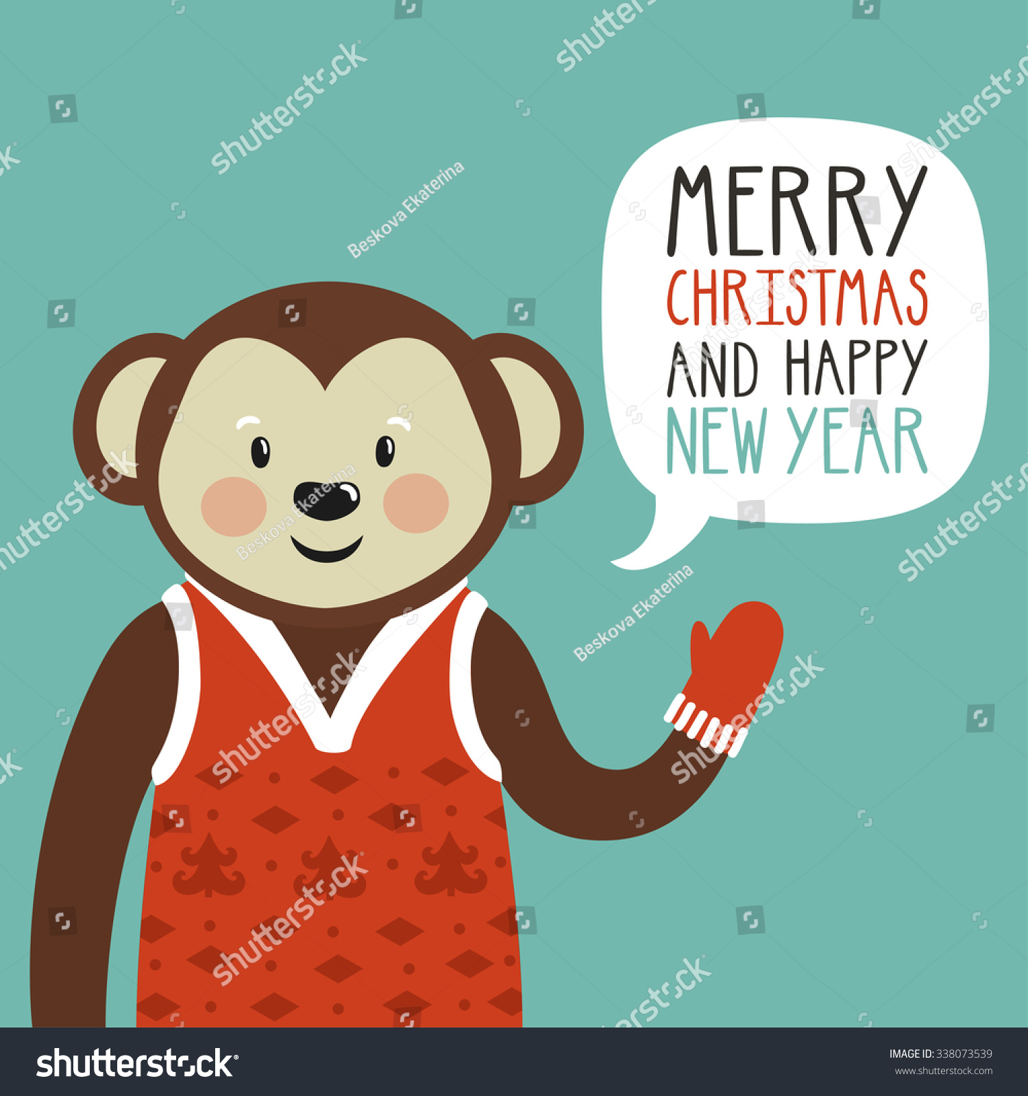 vector holiday illustration of a cute monkey in a red sweater saying merry christmas and