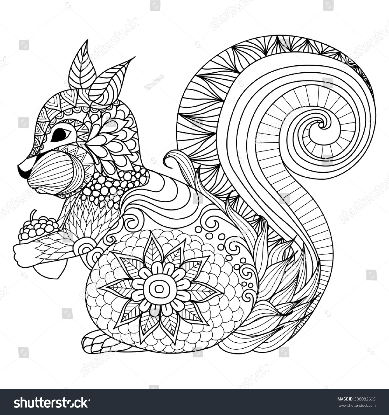 Shirt design book - Hand Drawn Squirrel Zentangle Style For Coloring Book Tattoo T Shirt Design Logo