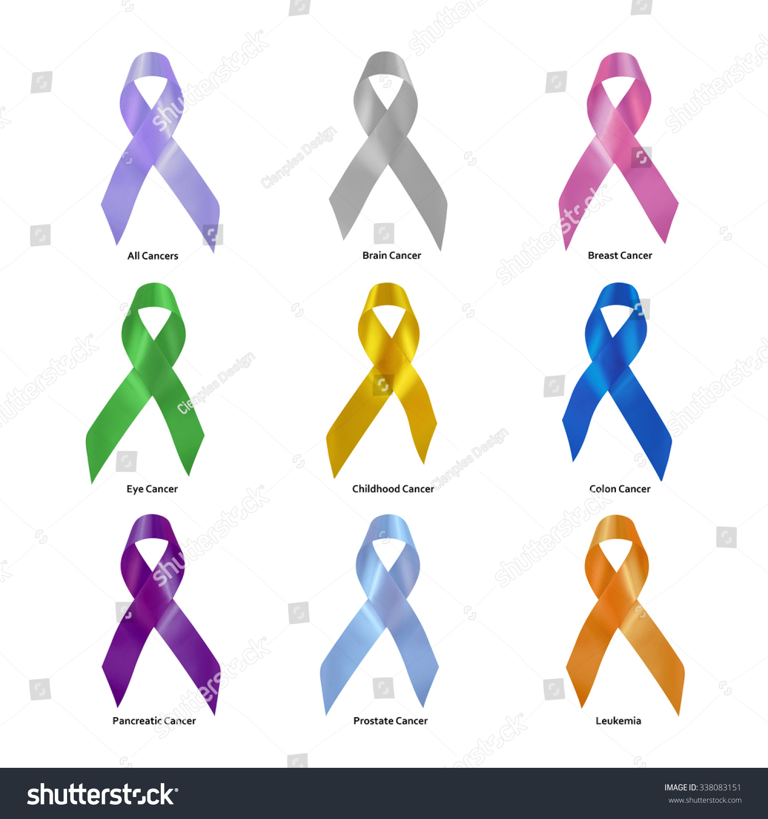 Set Cancer Awareness Ribbons Clipping Path Stock Photo Edit Now