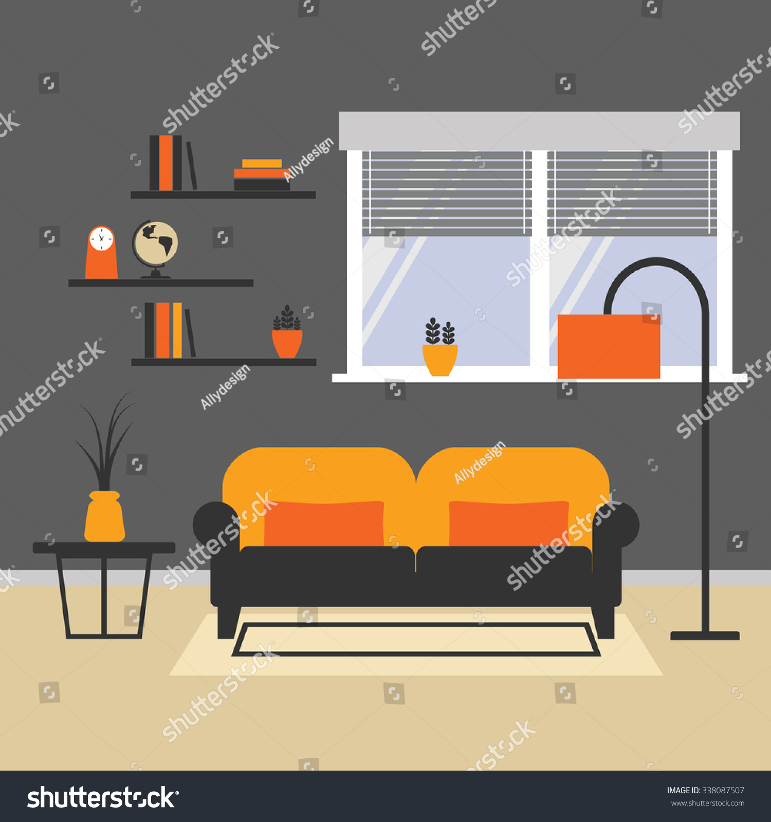 Vector Of Living Room Stock Vector Image Of Sofa: Vector Illustration Living Room Arrangement Vector Stock