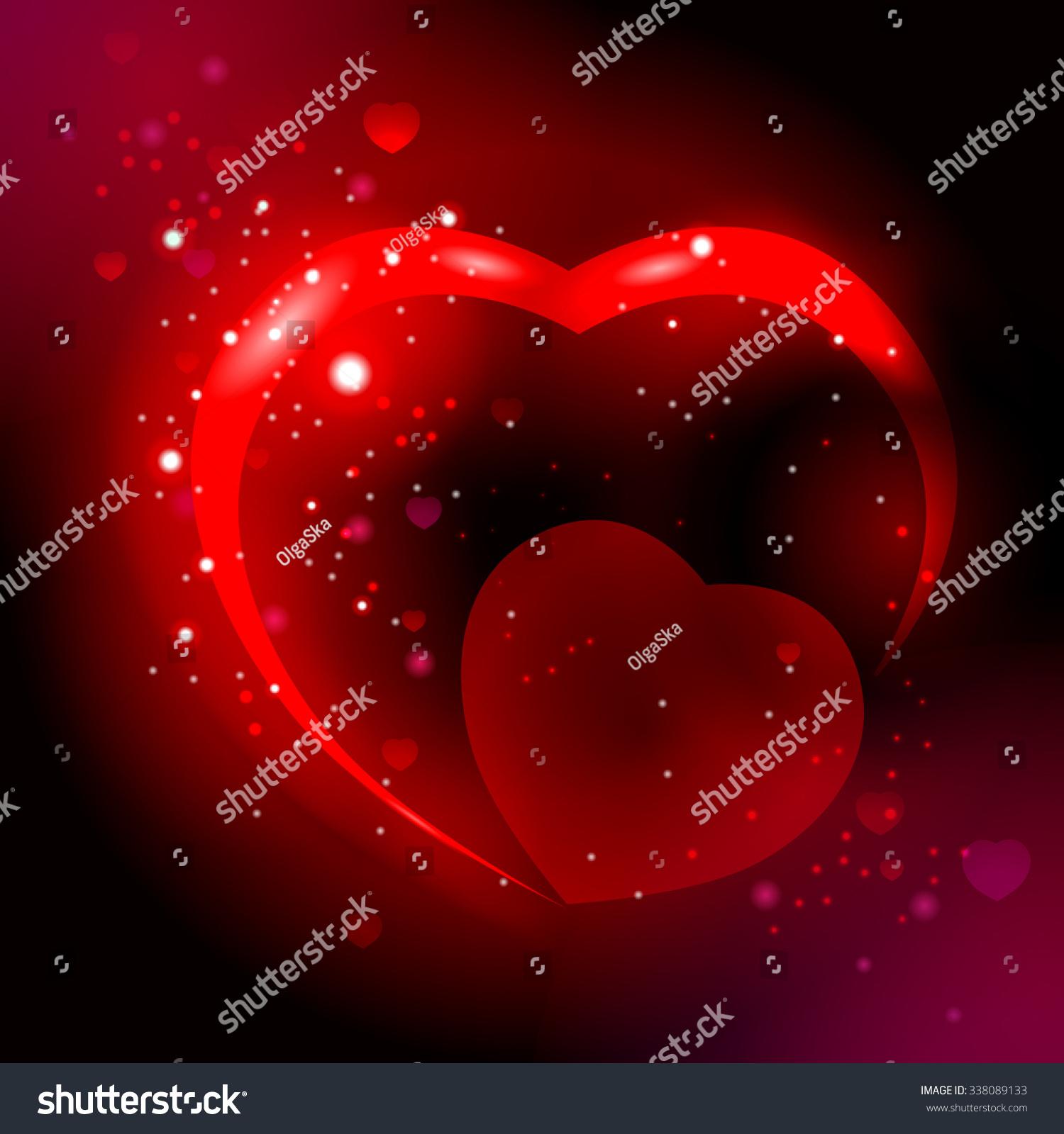 couple glowing hearts dark magic space stock vector 338089133