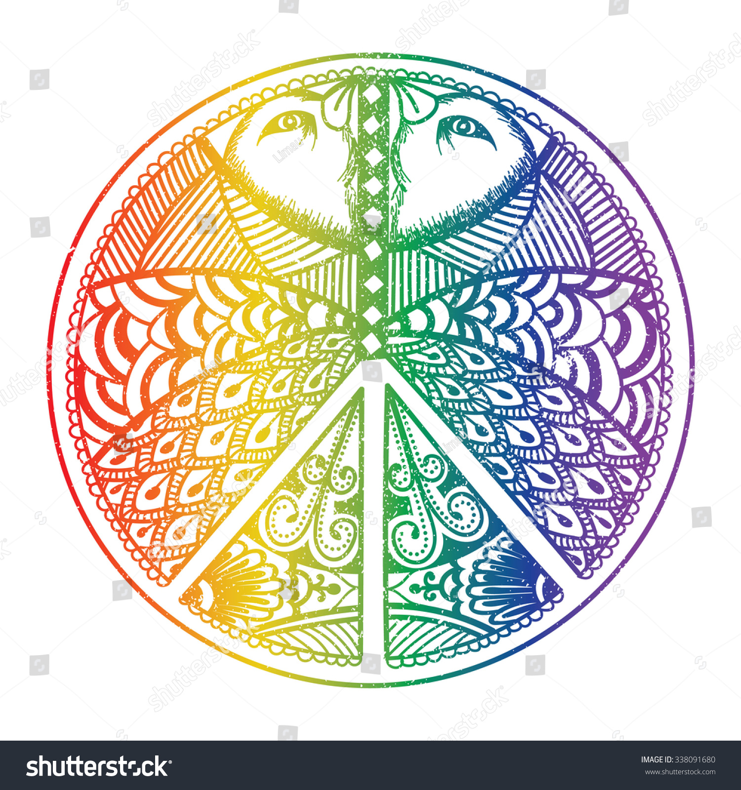 Peace Symbol Zentangle Style Pacifism Sign Stock Vector Royalty