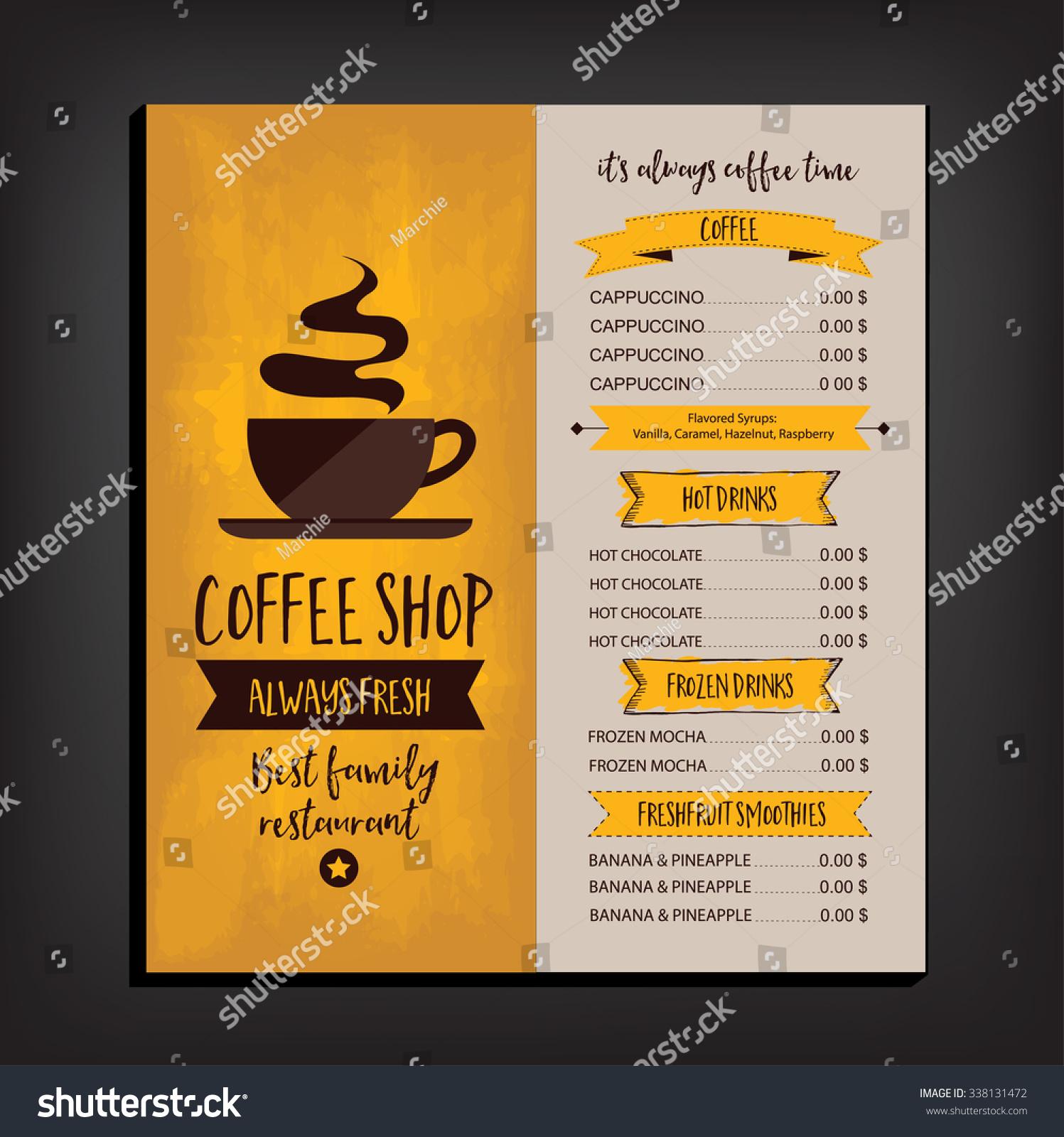 Vector restaurant brochure menu design vector cafe for Cafe brochure design