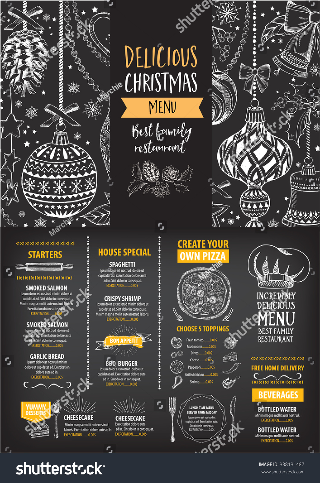 Vector christmas restaurant brochure menu design stock