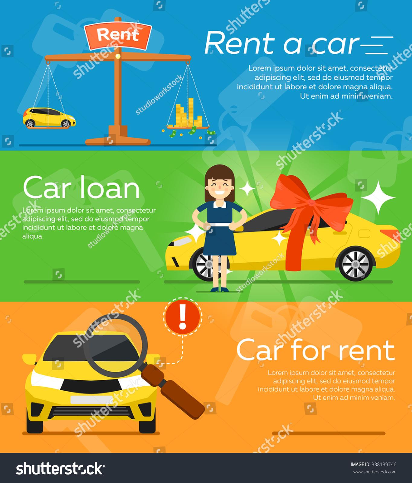 Rent Car Trading Car Flat Design Stock Vector Royalty Free 338139746