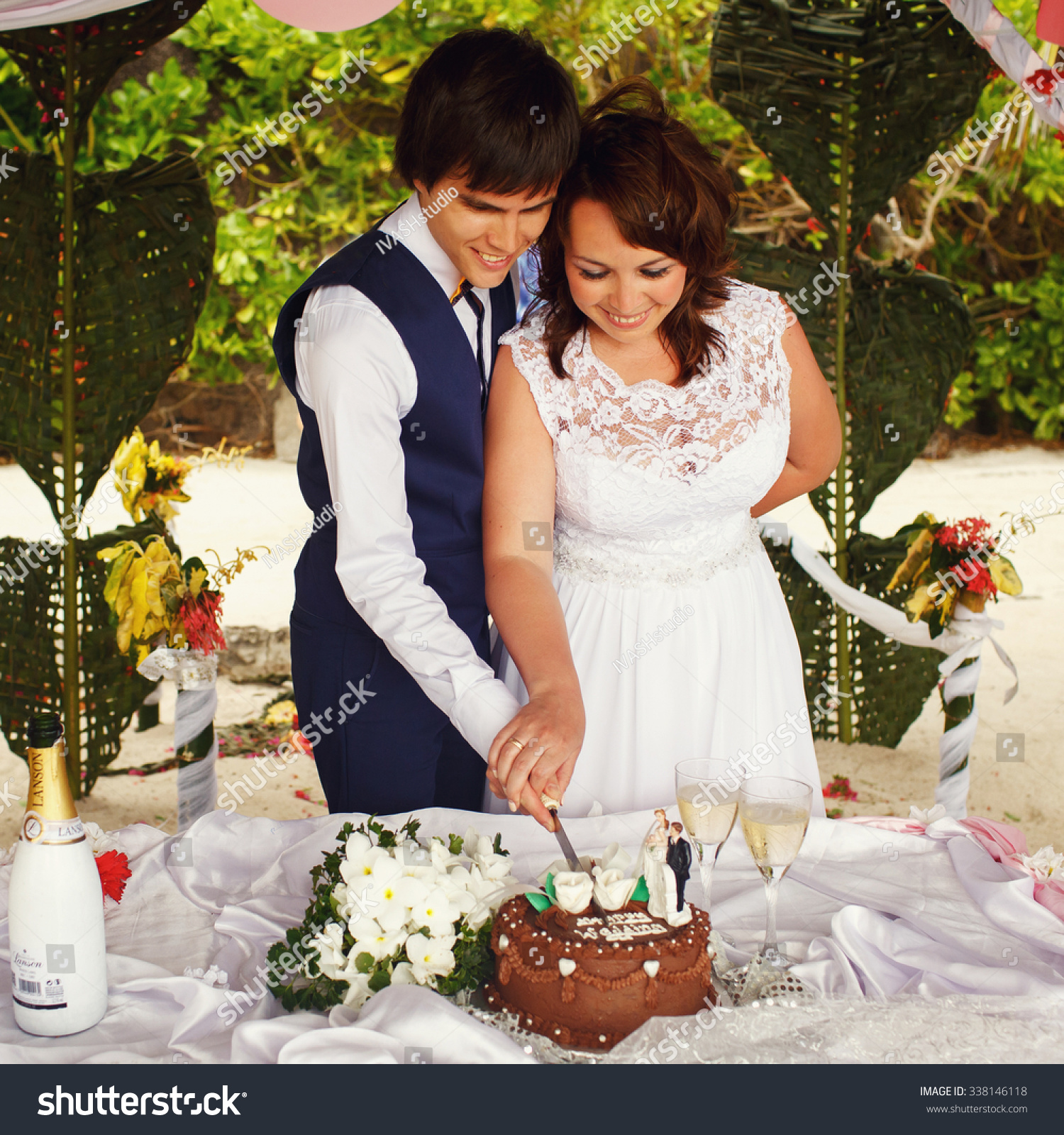 Elegant Gorgeous Bride Groom Tropical Bungalow Stock Photo Edit
