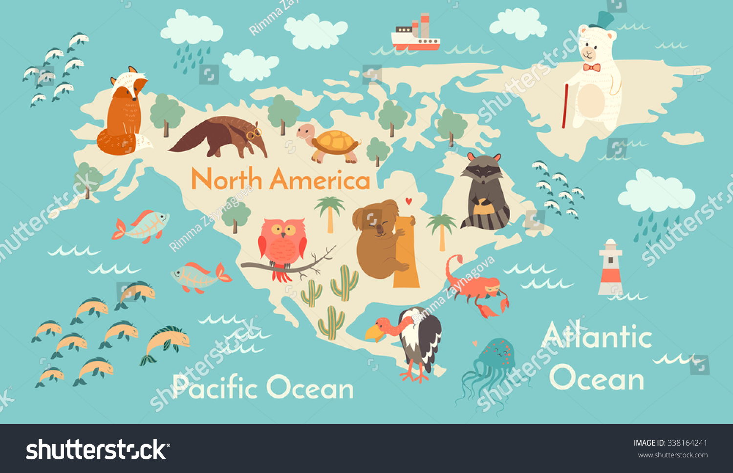 Animals world map north america north vector de stock338164241 animals world map north america north vector de stock338164241 shutterstock gumiabroncs Images