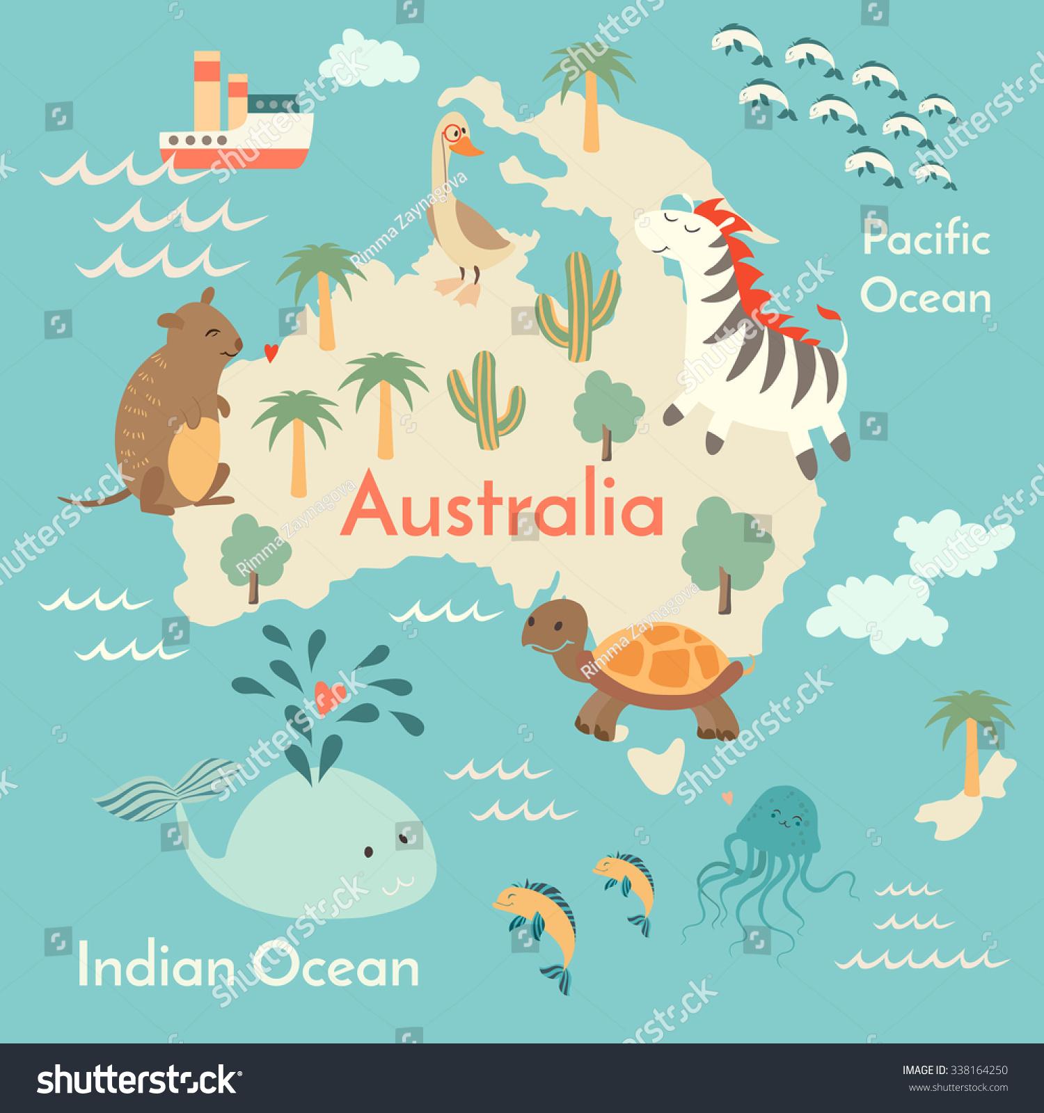 Animals World Map Australiaaustralia Map Childrenkids Stock Vector - Australia on the world map