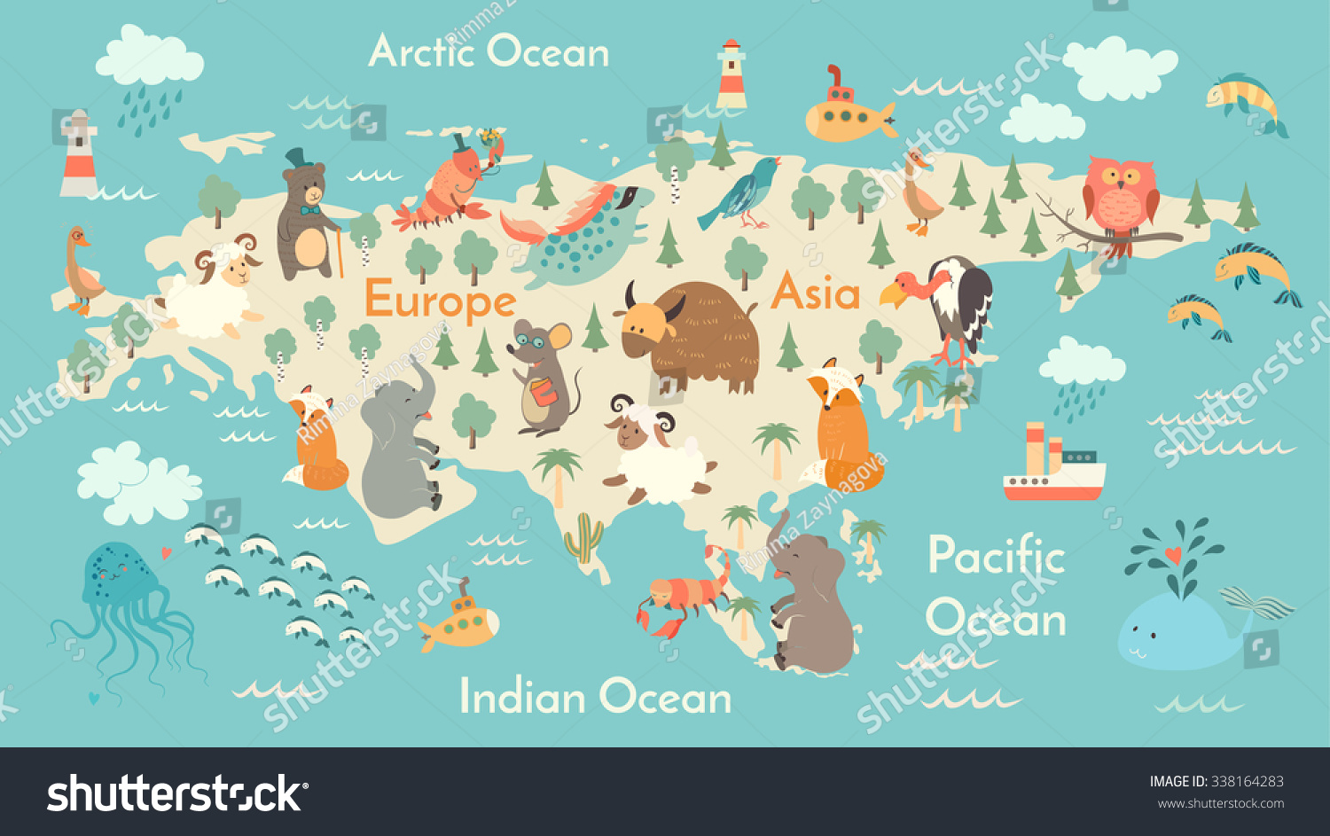 Royaltyfree Animals World Map Eurasia Eurasia Map - Continents map for kids