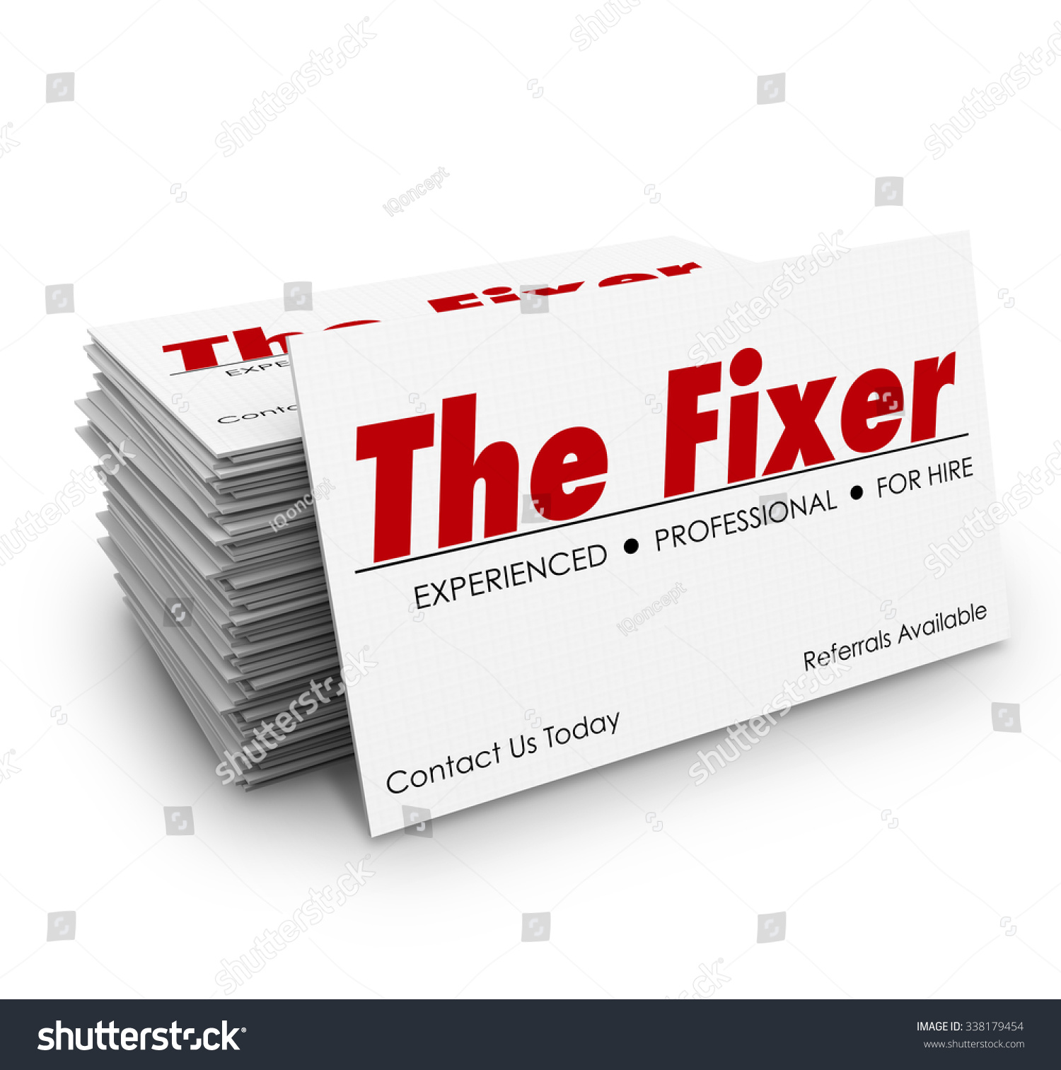 Fixer Words On Business Card Stack Stock Illustration 338179454 ...