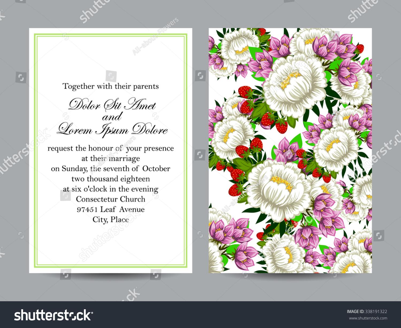 Vintage delicate invitation flowers wedding marriage stock vintage delicate invitation with flowers for wedding marriage bridal birthday valentines day izmirmasajfo